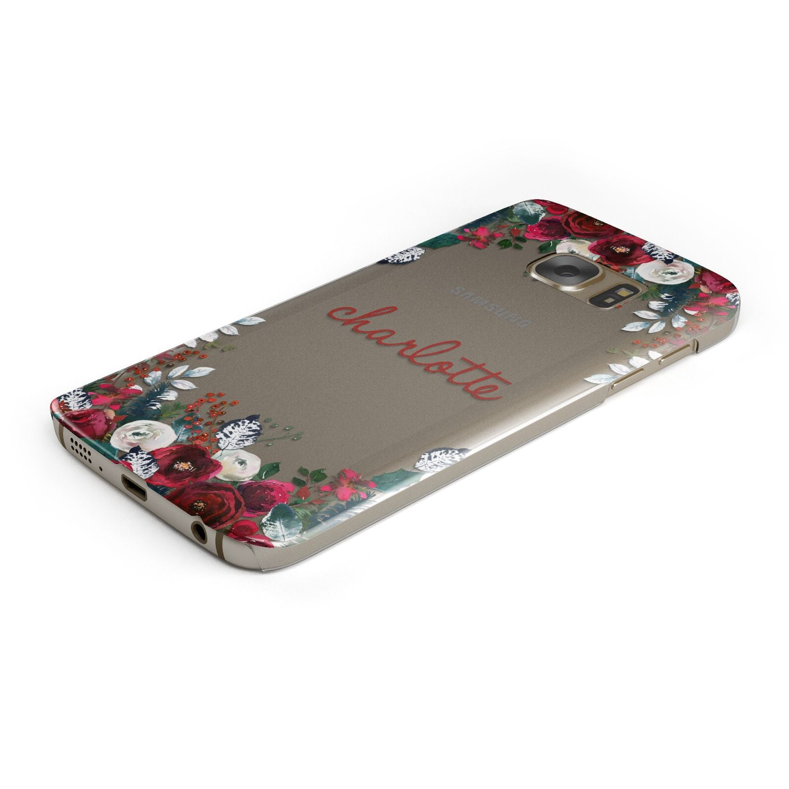Christmas Flowers Personalised Samsung Galaxy Case Bottom Cutout
