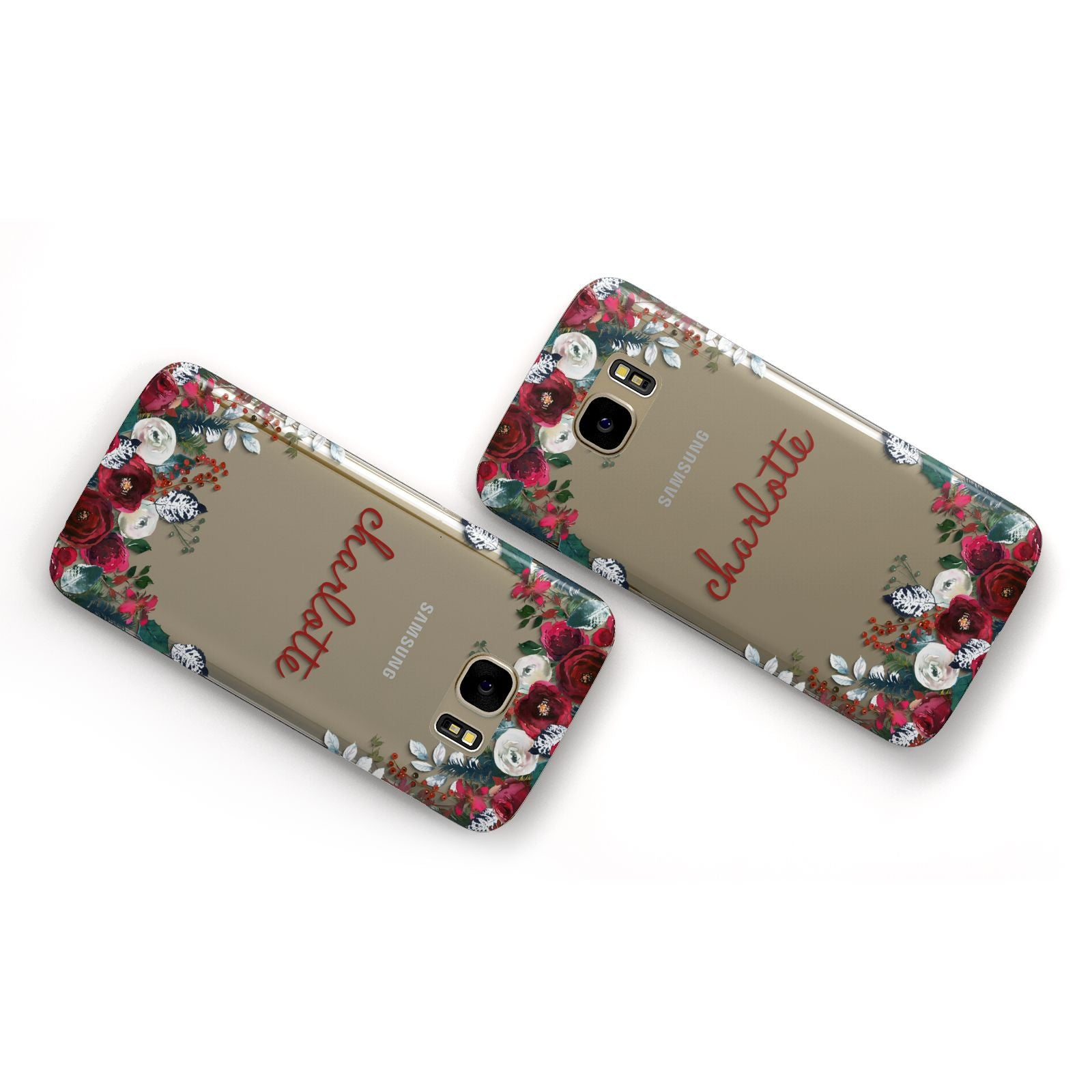 Christmas Flowers Personalised Samsung Galaxy Case Flat Overview