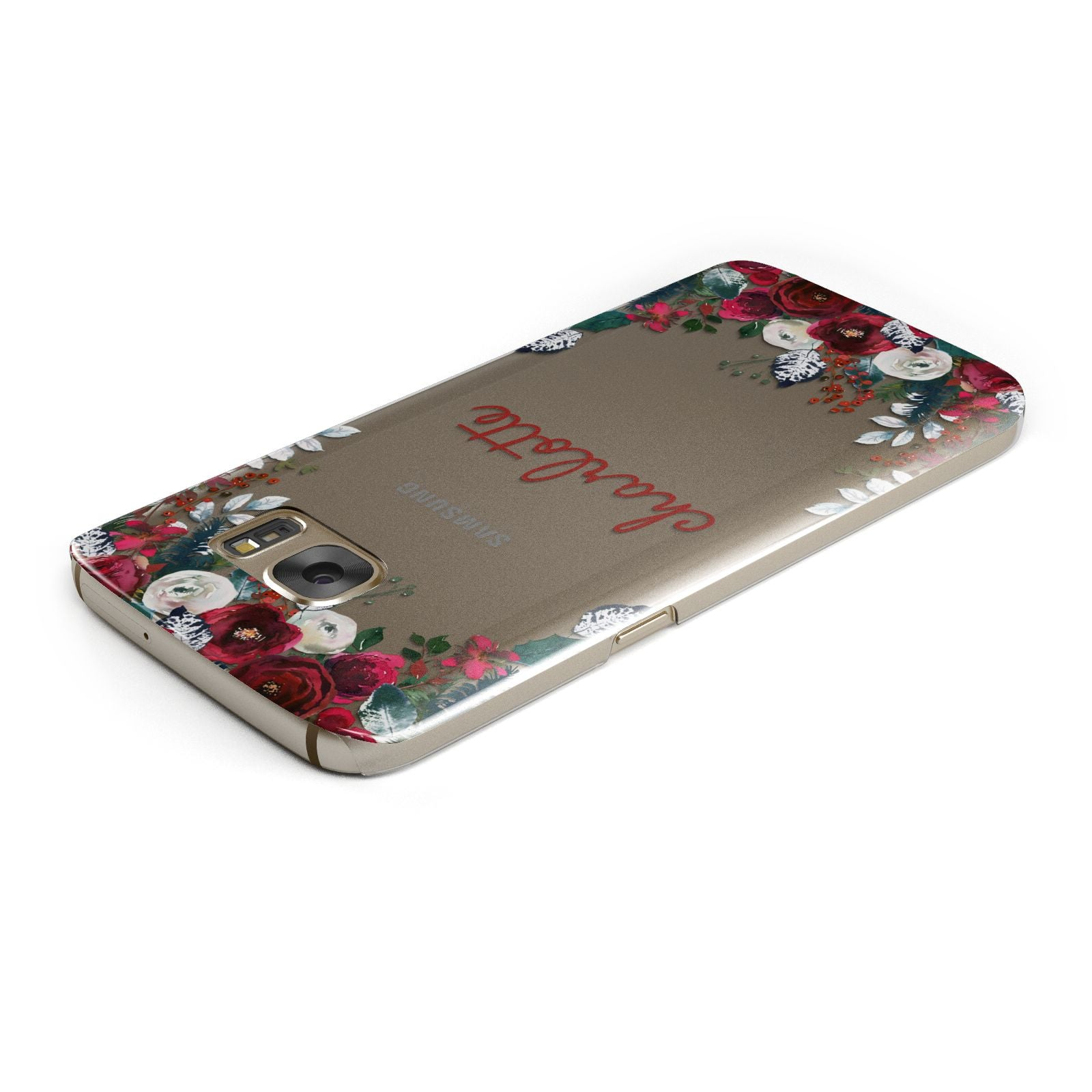 Christmas Flowers Personalised Samsung Galaxy Case Top Cutout