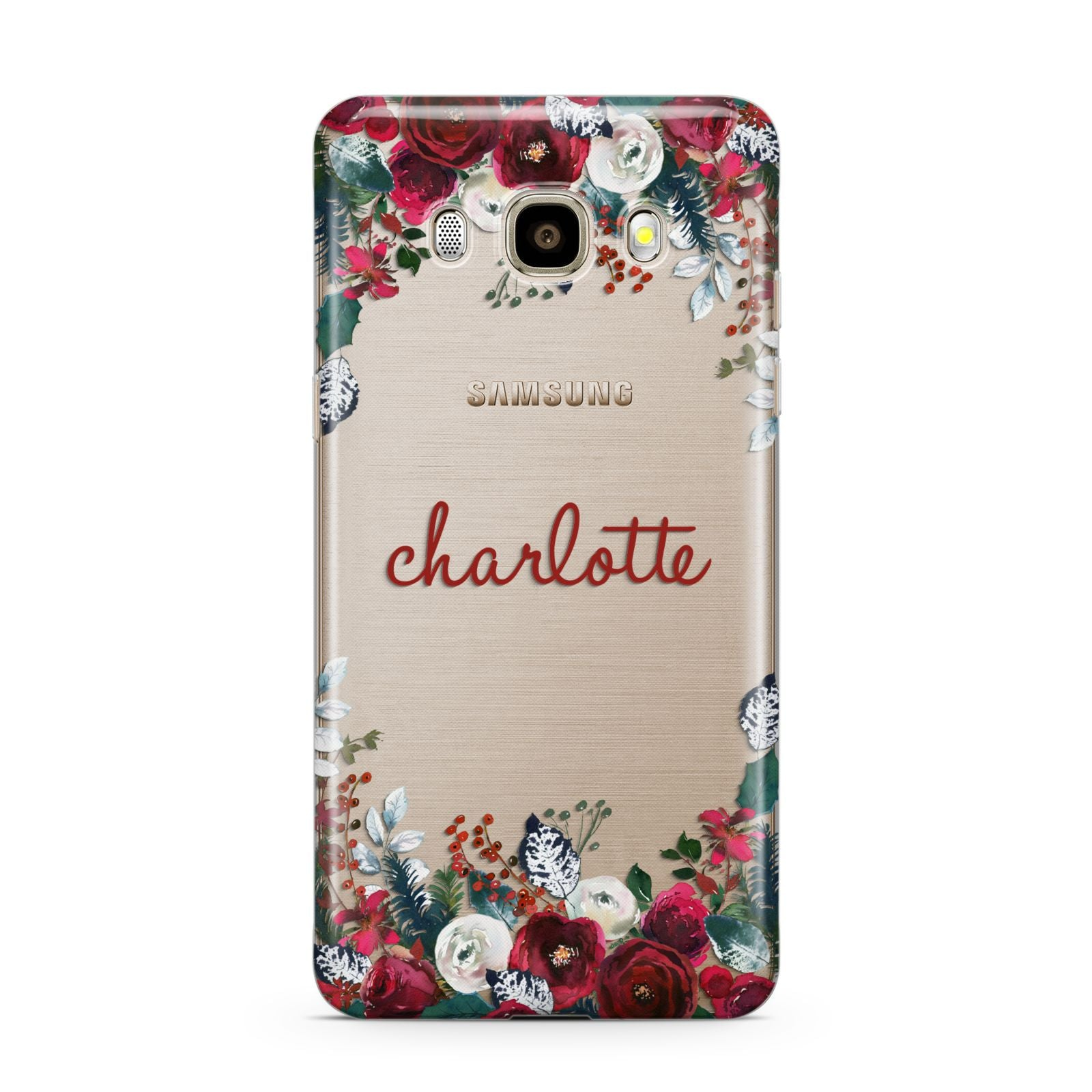 Christmas Flowers Personalised Samsung Galaxy J7 2016 Case on gold phone
