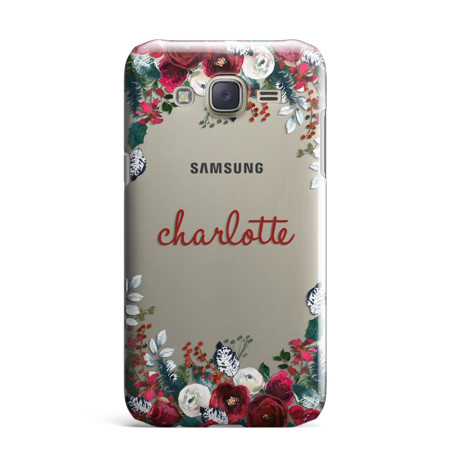 Christmas Flowers Personalised Samsung Galaxy J7 Case