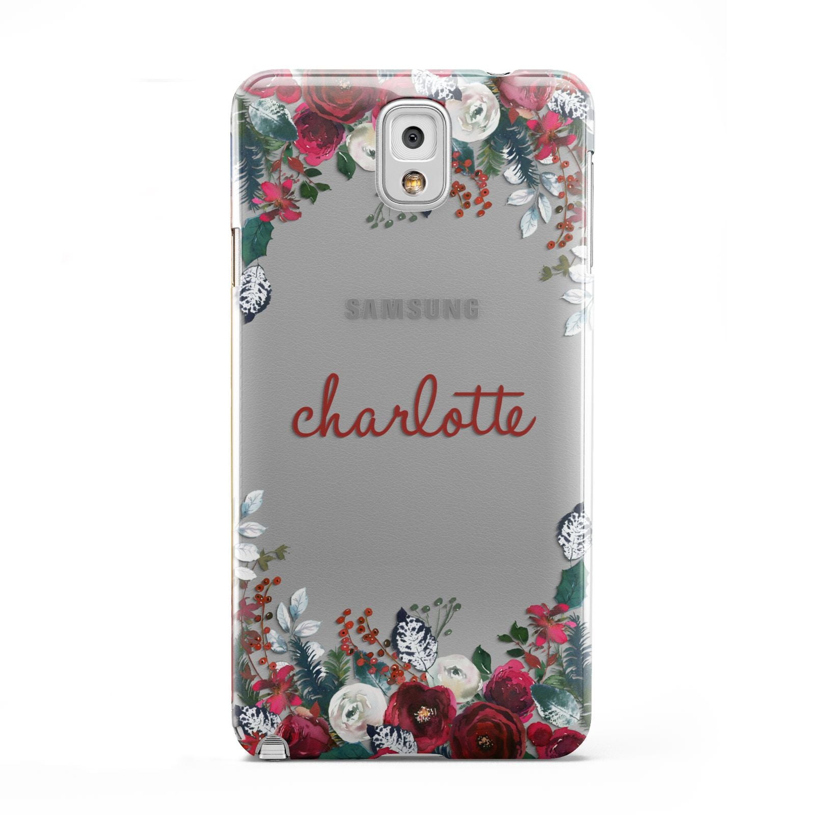 Christmas Flowers Personalised Samsung Galaxy Note 3 Case