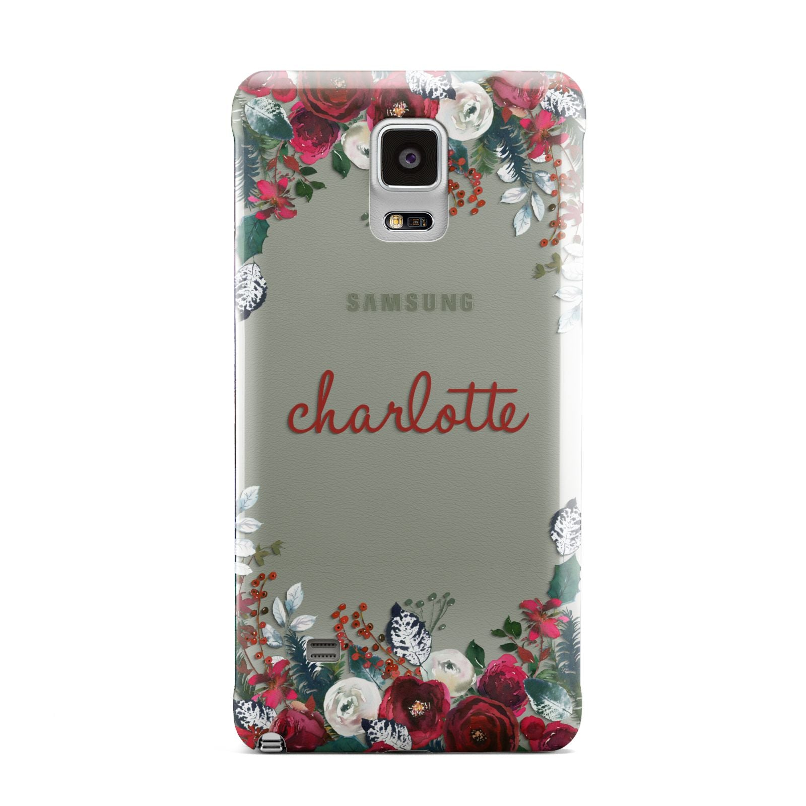 Christmas Flowers Personalised Samsung Galaxy Note 4 Case