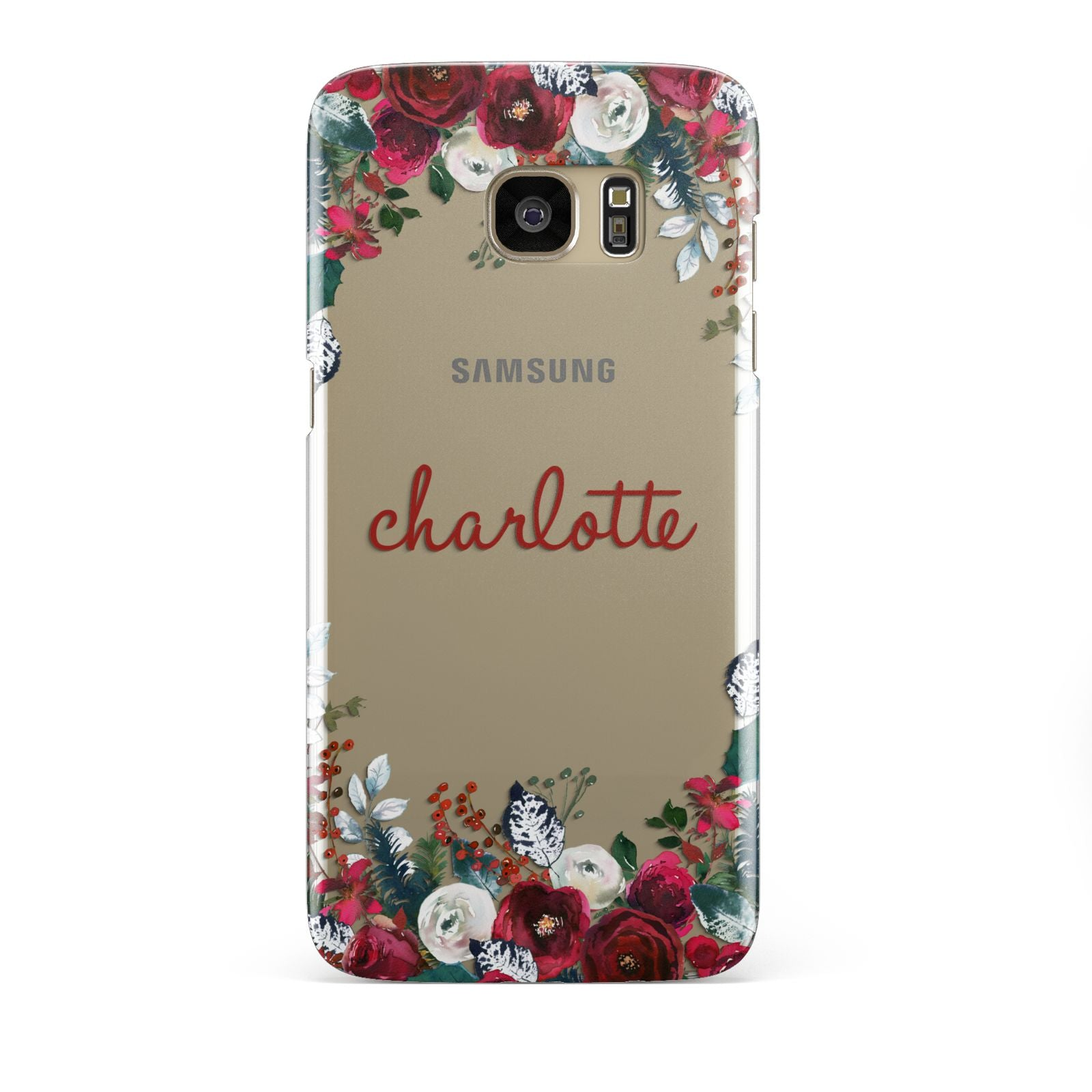 Christmas Flowers Personalised Samsung Galaxy S7 Edge Case