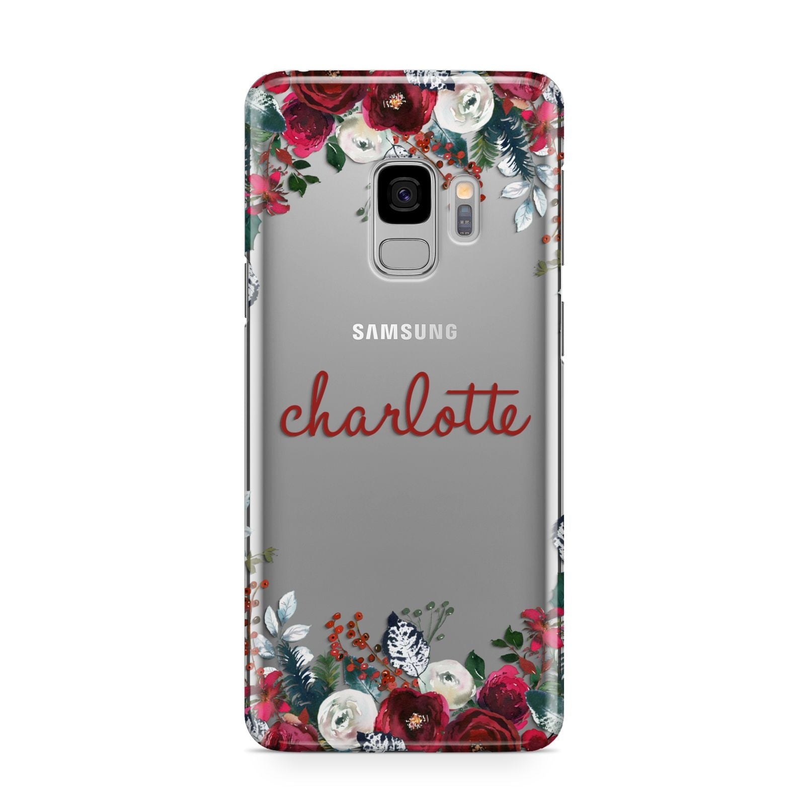 Christmas Flowers Personalised Samsung Galaxy S9 Case