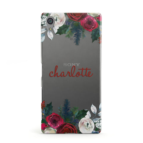 Christmas Flowers Personalised Sony Case