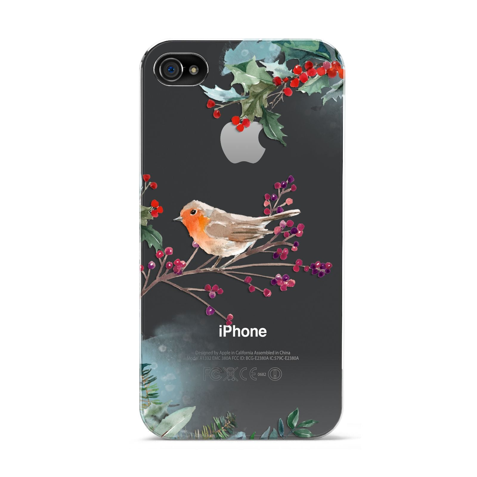 Christmas Robin Floral Apple iPhone 4s Case