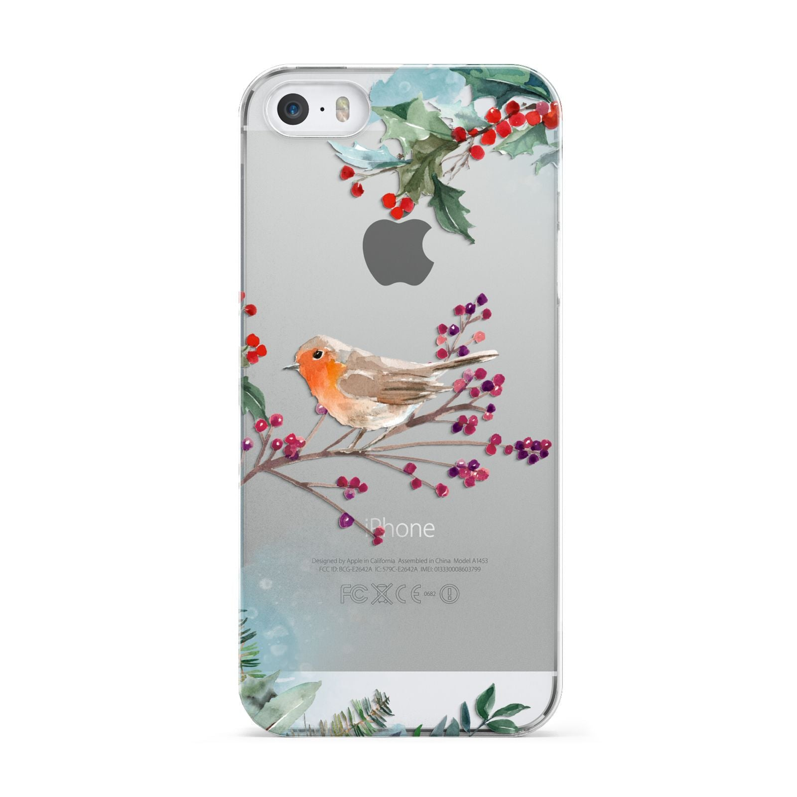 Christmas Robin Floral Apple iPhone 5 Case