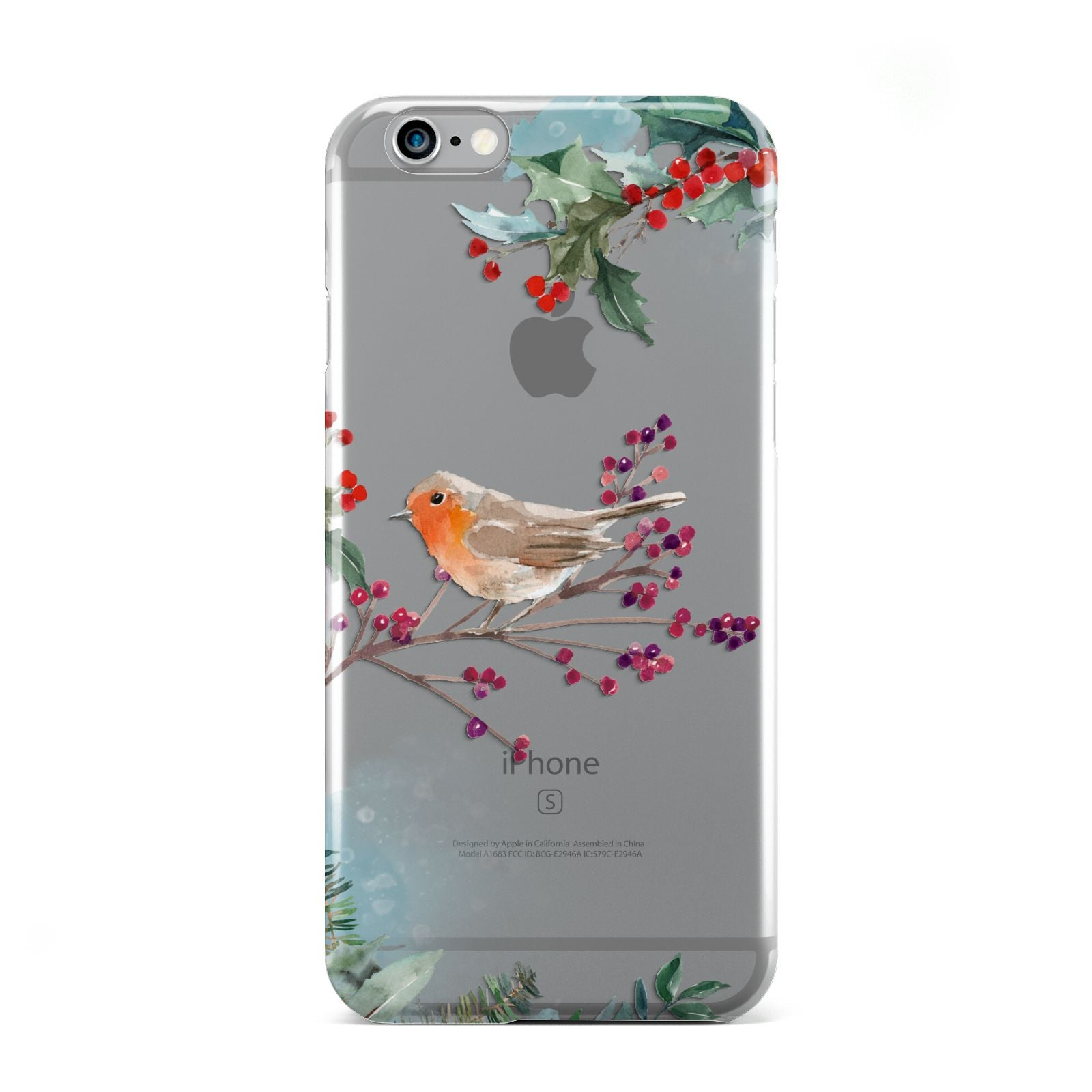 Christmas Robin Floral Apple iPhone 6 Case