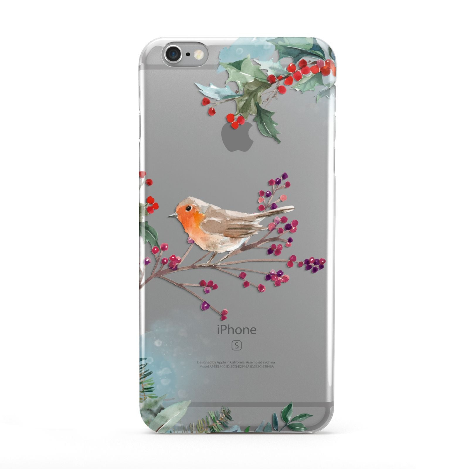 Christmas Robin Floral Apple iPhone 6 Plus Case