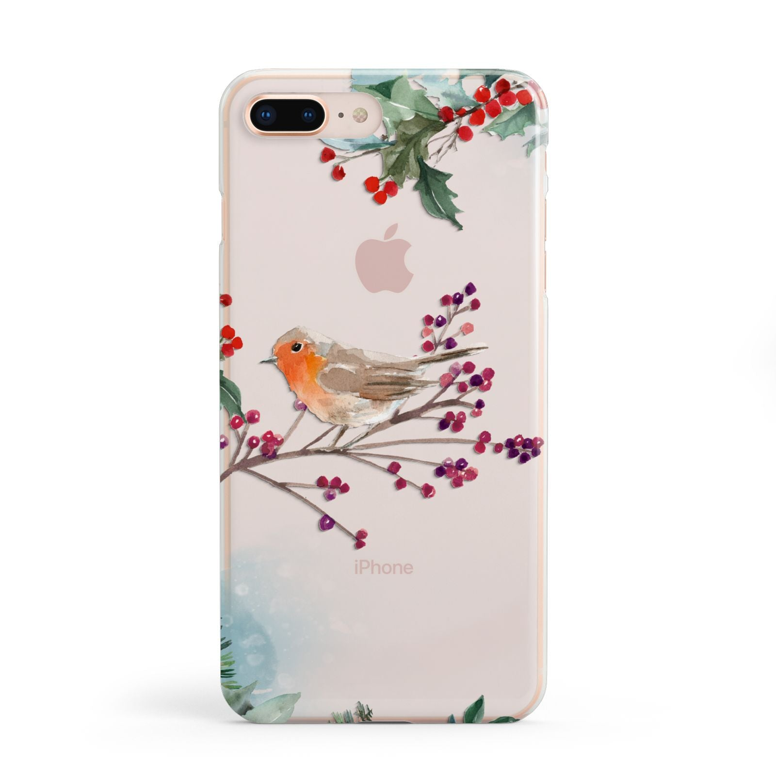 Christmas Robin Floral Apple iPhone 8 Plus Case