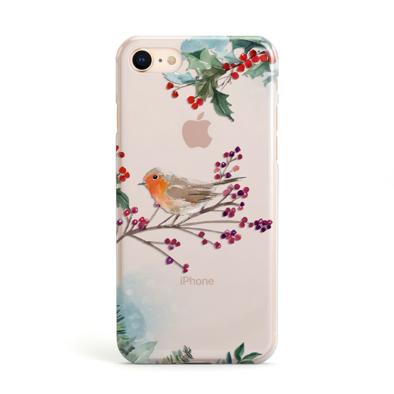 Christmas Robin Floral Apple iPhone Case