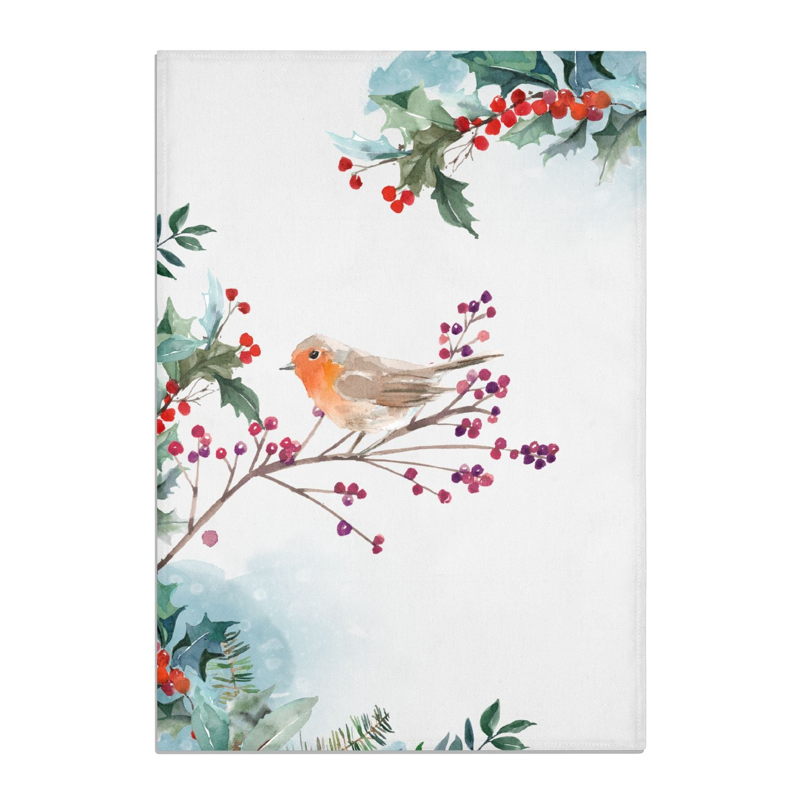 Christmas Robin Floral Cotton Tea Towel