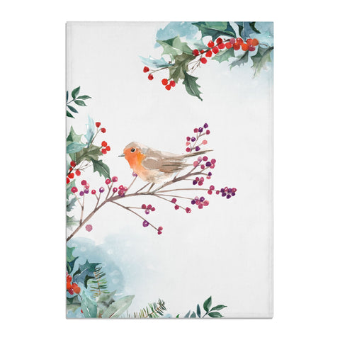 Christmas Robin Floral Tea Towel