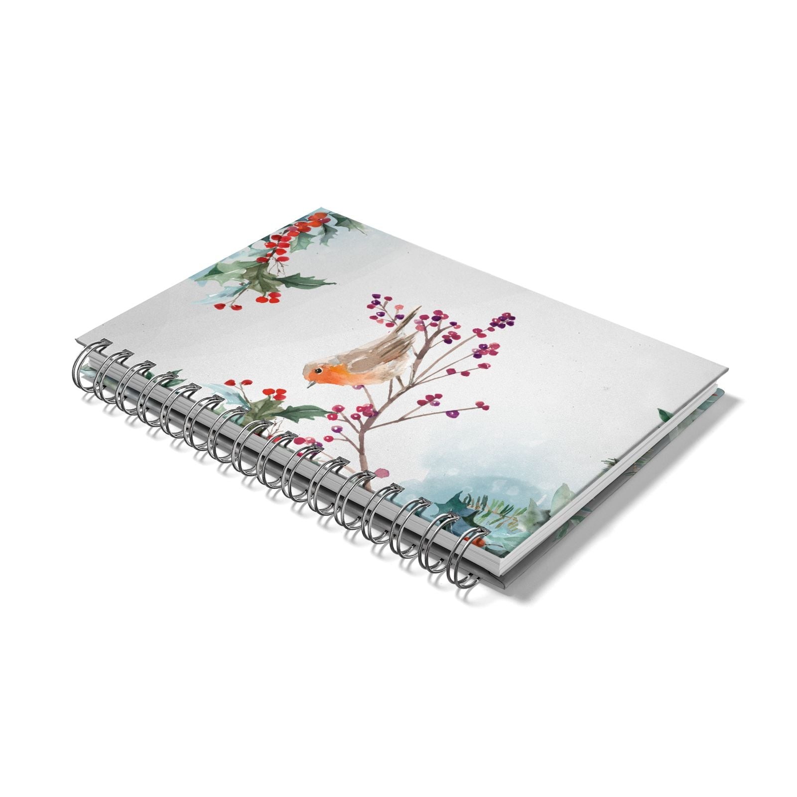 Christmas Robin Floral Notebook with Silver Coil Laid Flat