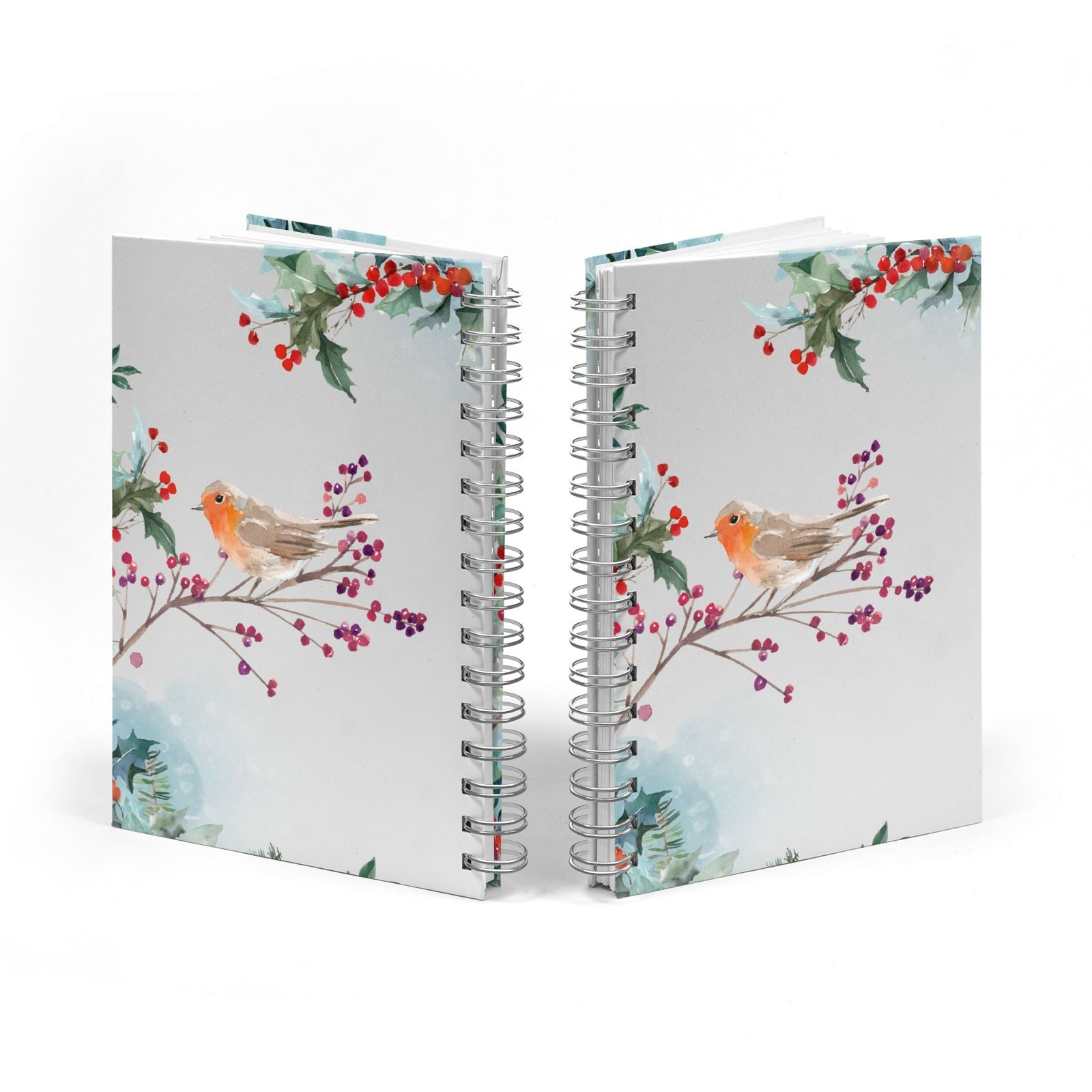 Christmas Robin Floral Notebook with Silver Coil Spine View