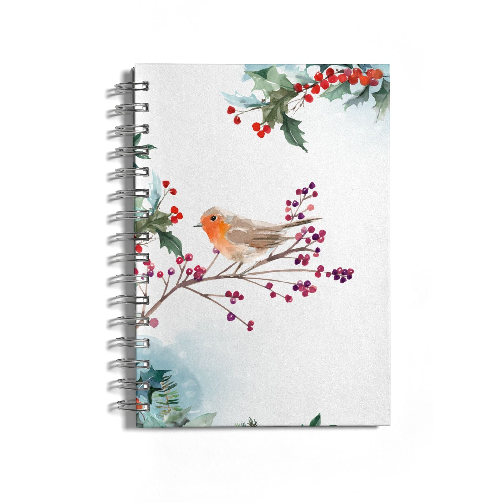 Christmas Robin Floral Notebook with Silver Coil