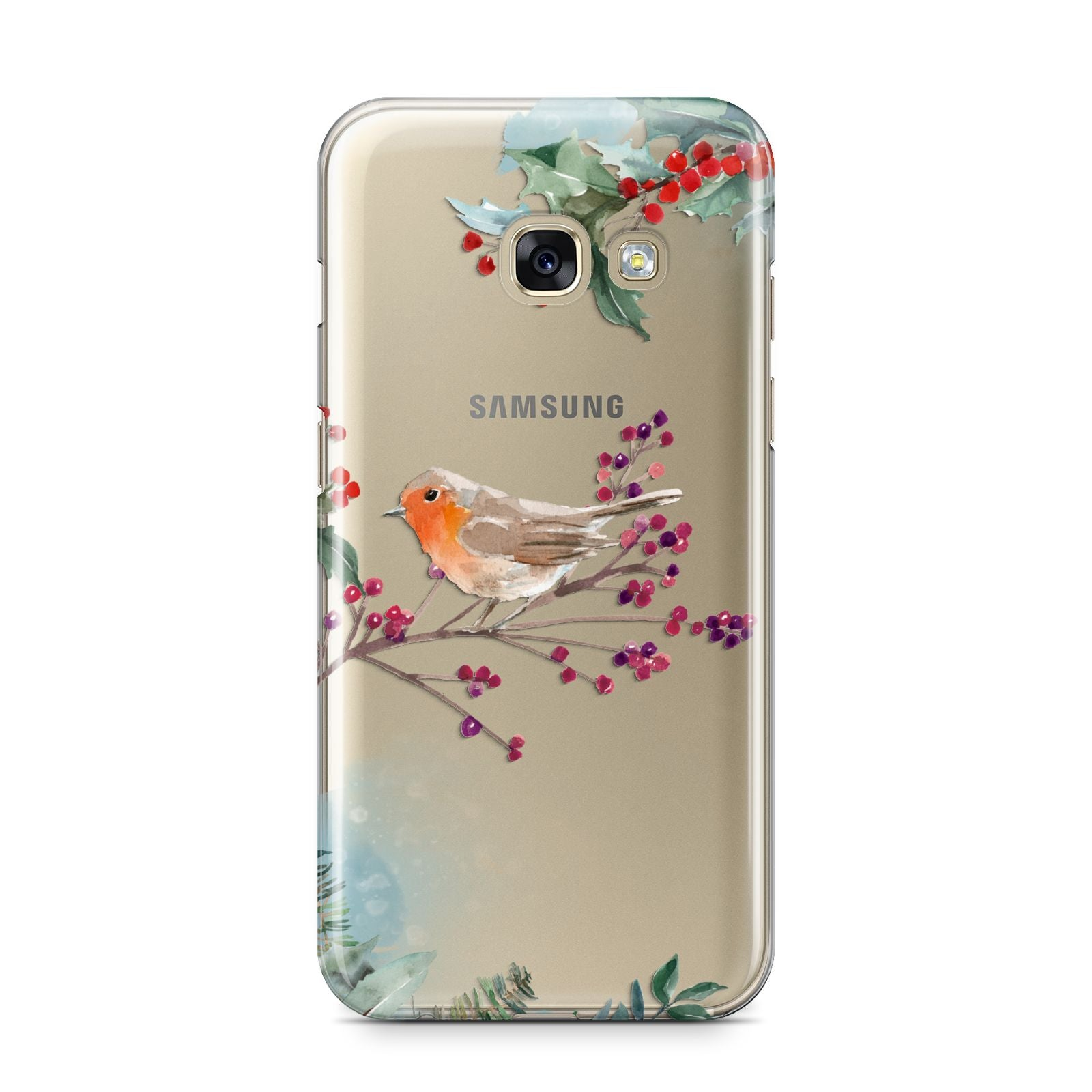 Christmas Robin Floral Samsung Galaxy A3 2017 Case on gold phone