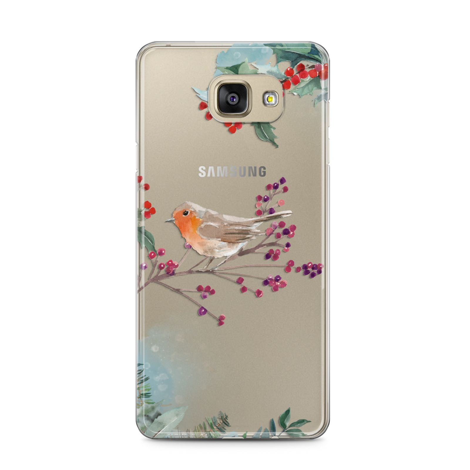 Christmas Robin Floral Samsung Galaxy A5 2016 Case on gold phone