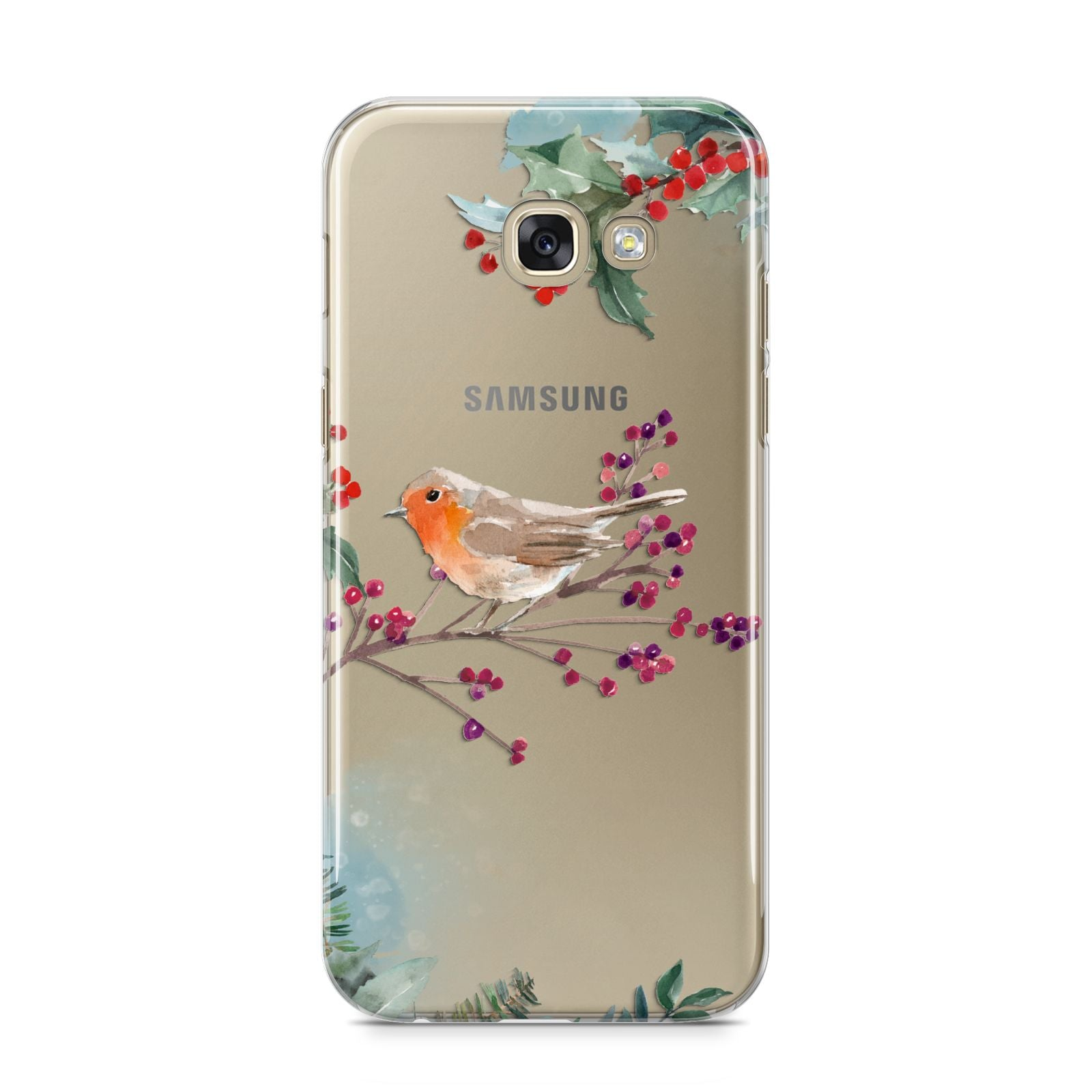 Christmas Robin Floral Samsung Galaxy A5 2017 Case on gold phone