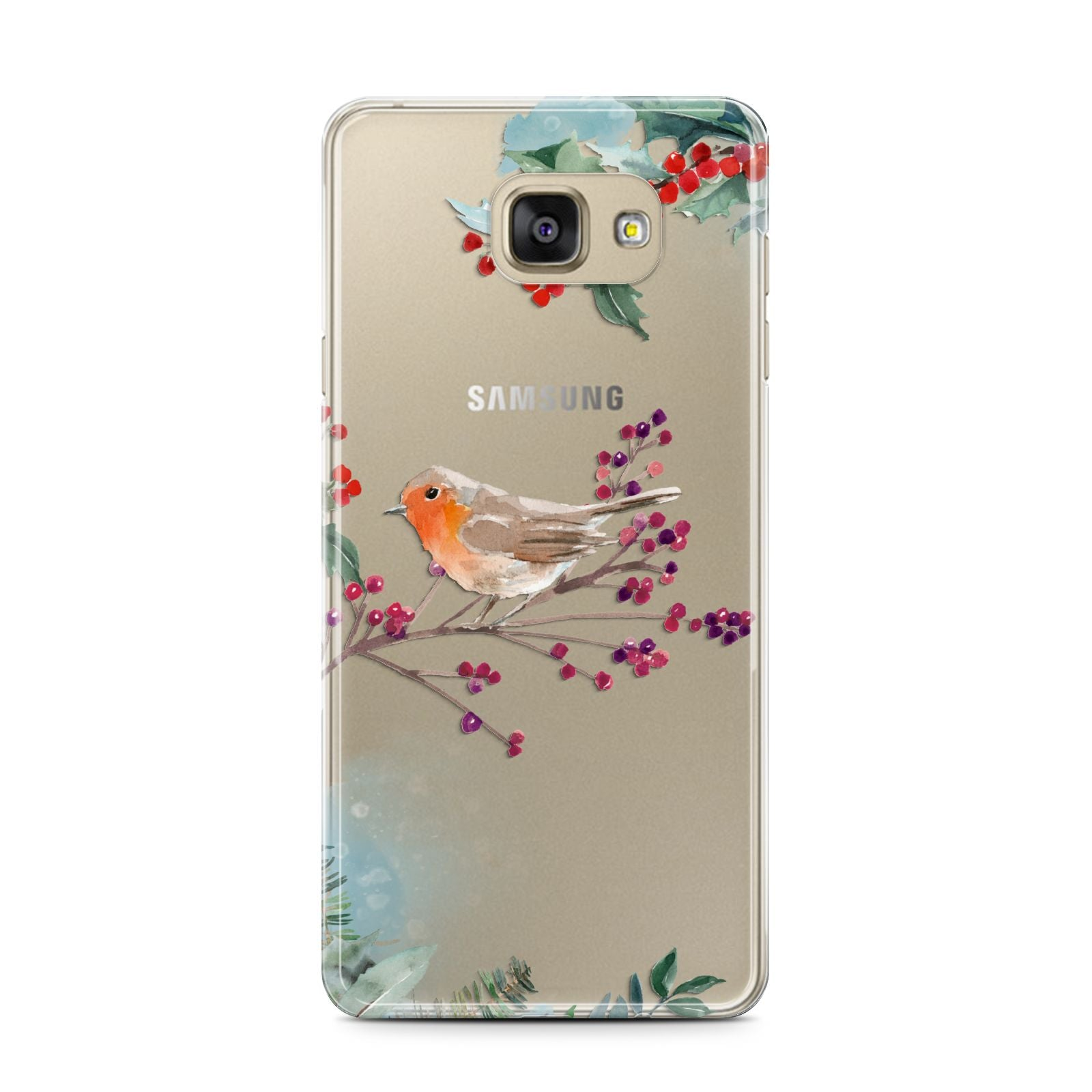 Christmas Robin Floral Samsung Galaxy A7 2016 Case on gold phone