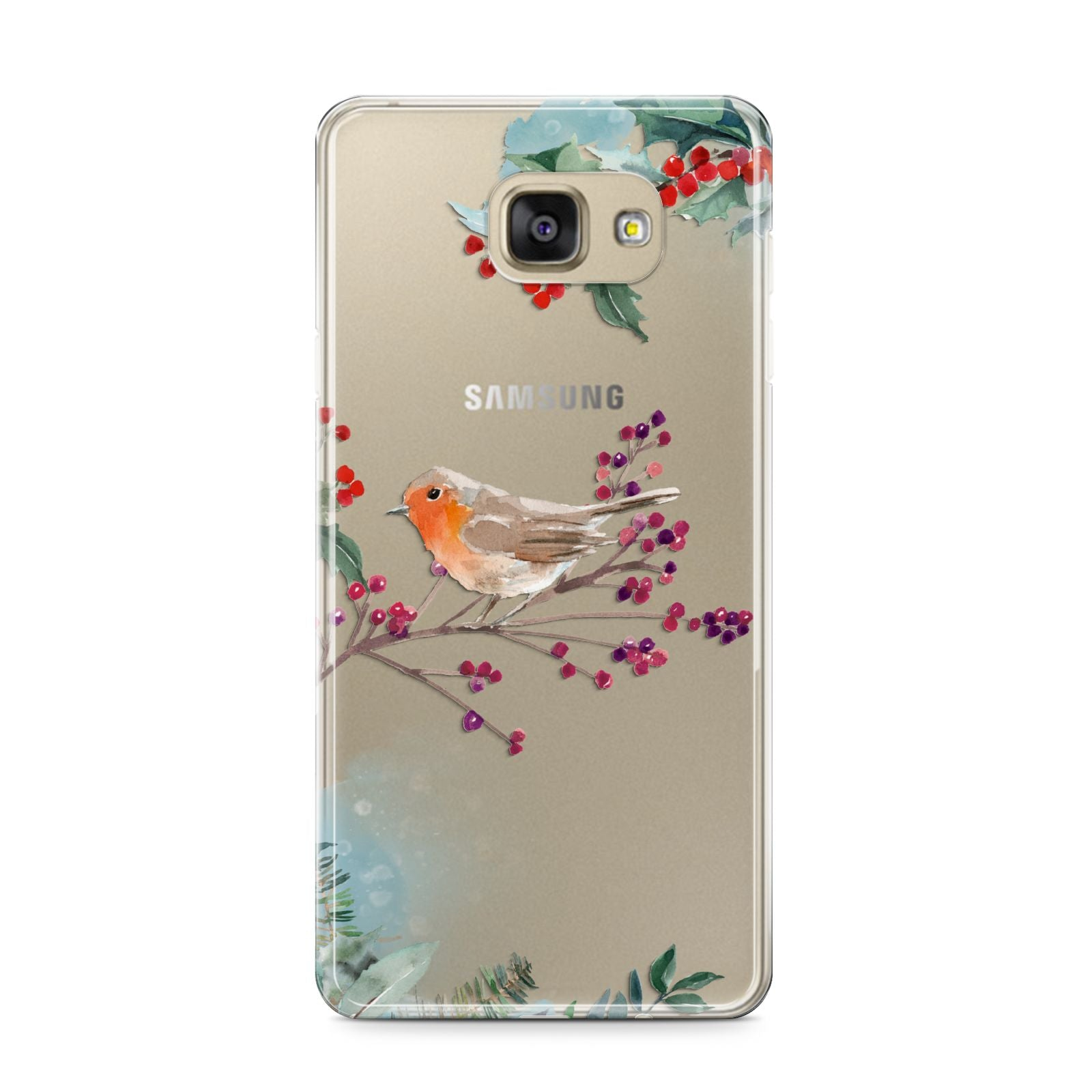 Christmas Robin Floral Samsung Galaxy A9 2016 Case on gold phone