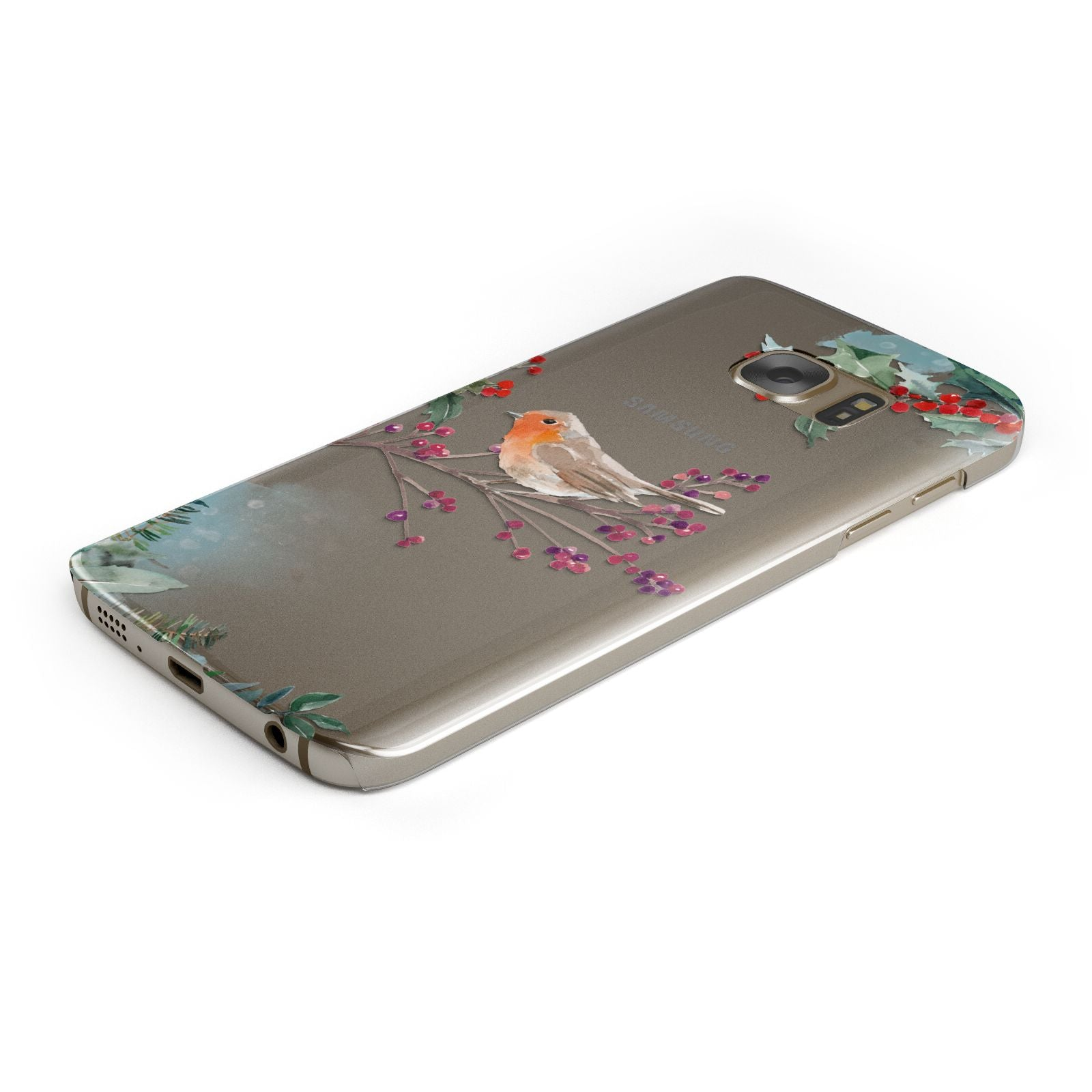 Christmas Robin Floral Samsung Galaxy Case Bottom Cutout