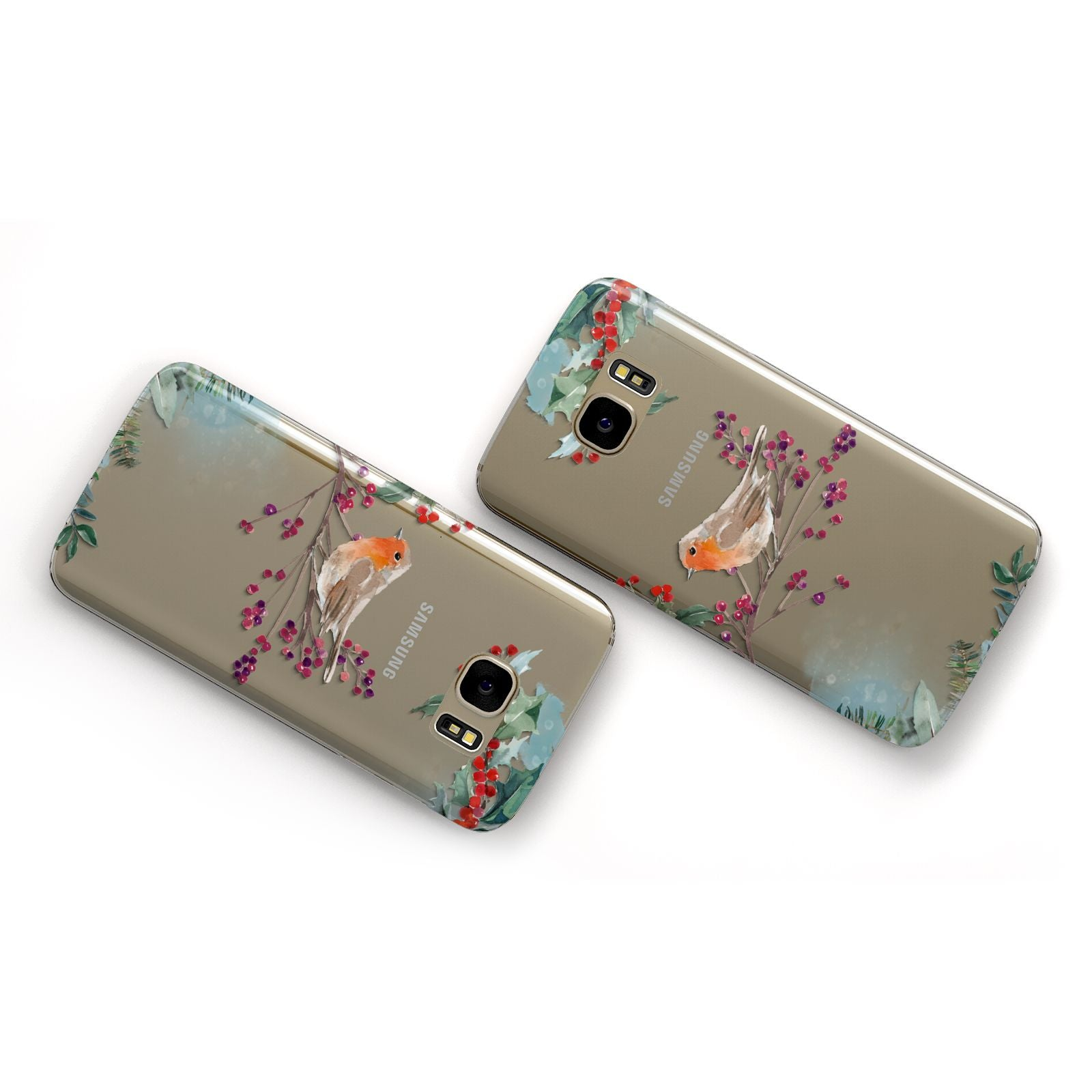 Christmas Robin Floral Samsung Galaxy Case Flat Overview