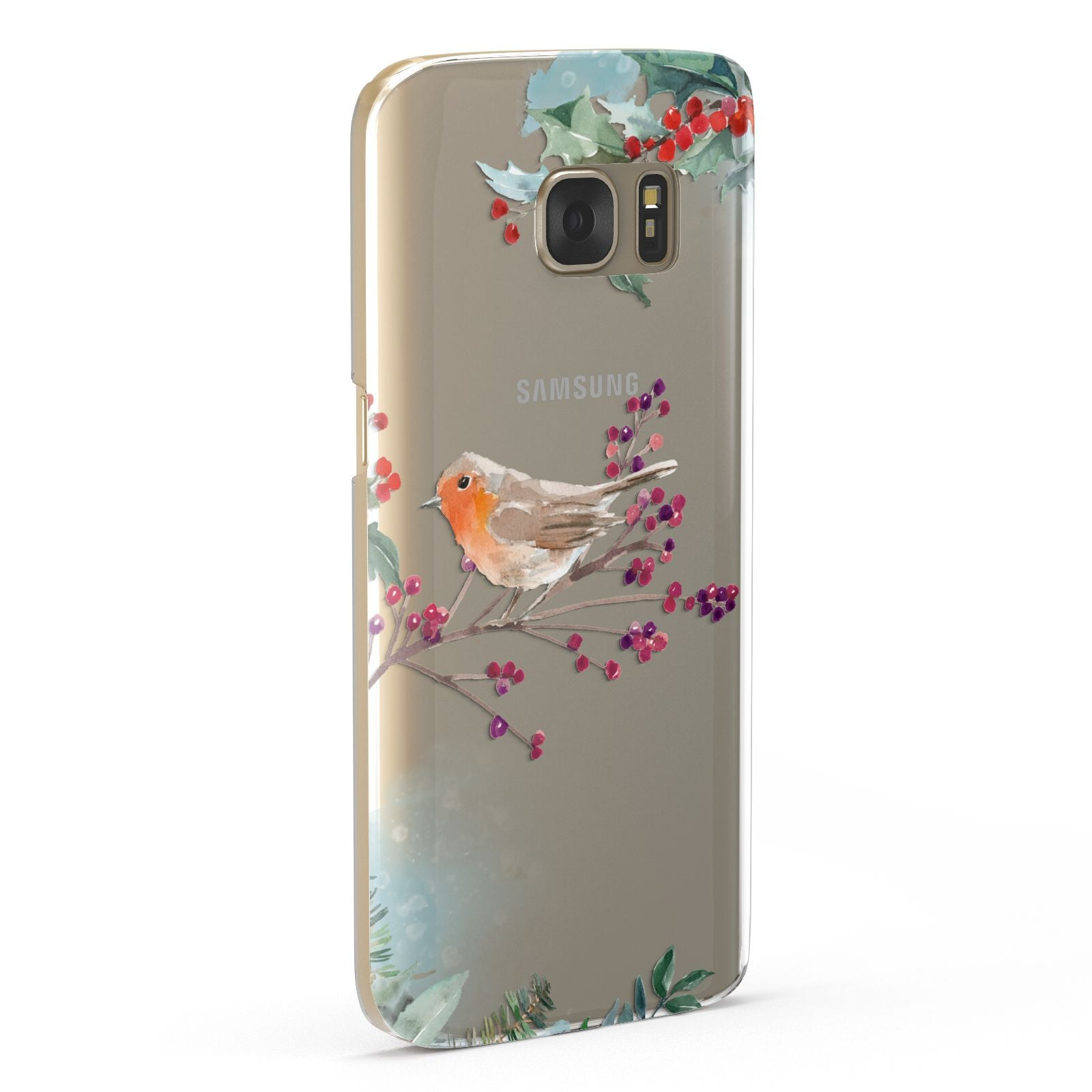 Christmas Robin Floral Samsung Galaxy Case Fourty Five Degrees