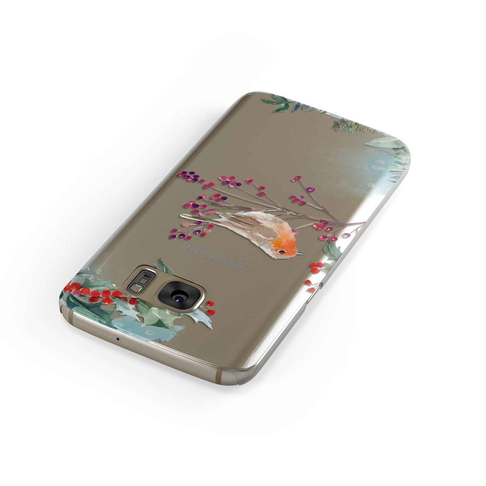 Christmas Robin Floral Samsung Galaxy Case Front Close Up