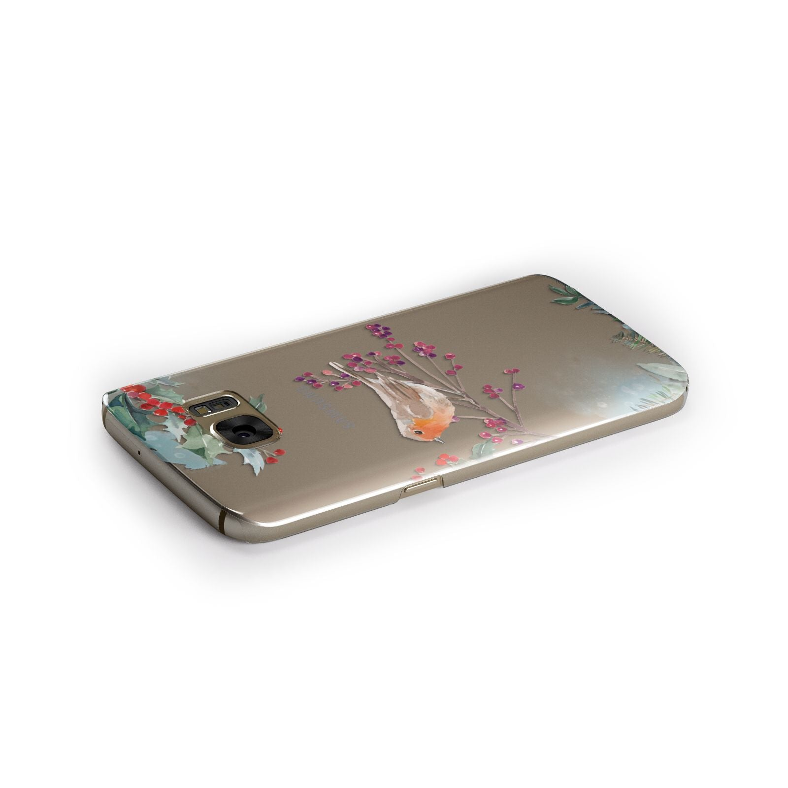 Christmas Robin Floral Samsung Galaxy Case Side Close Up