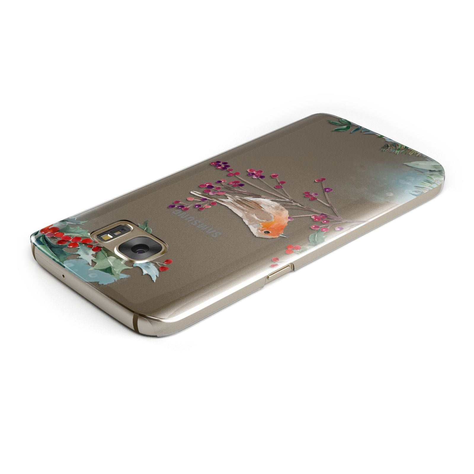 Christmas Robin Floral Samsung Galaxy Case Top Cutout