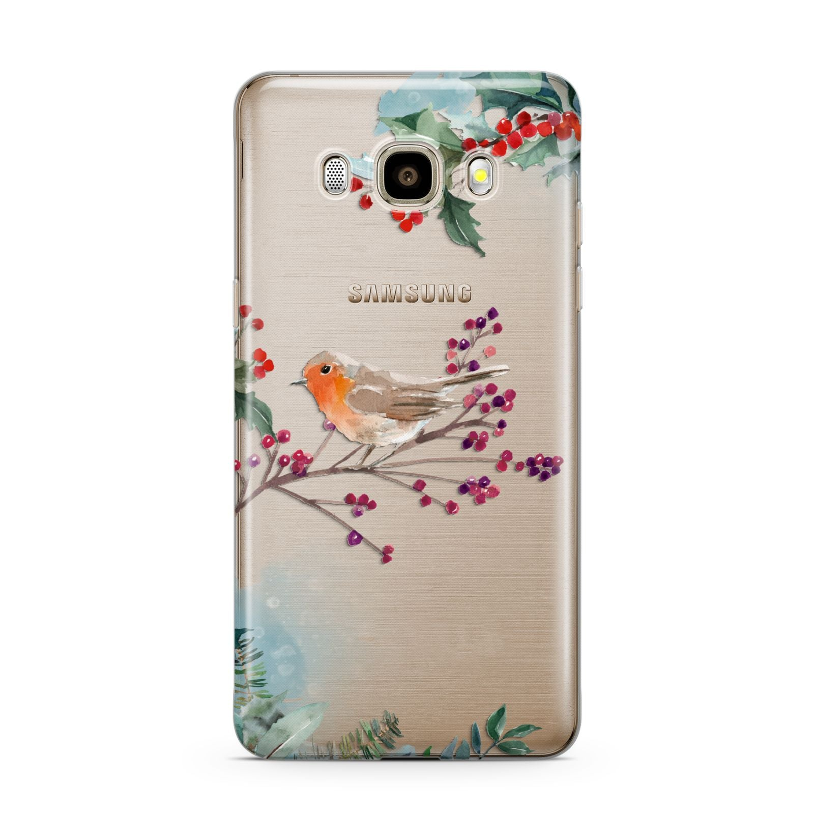 Christmas Robin Floral Samsung Galaxy J7 2016 Case on gold phone