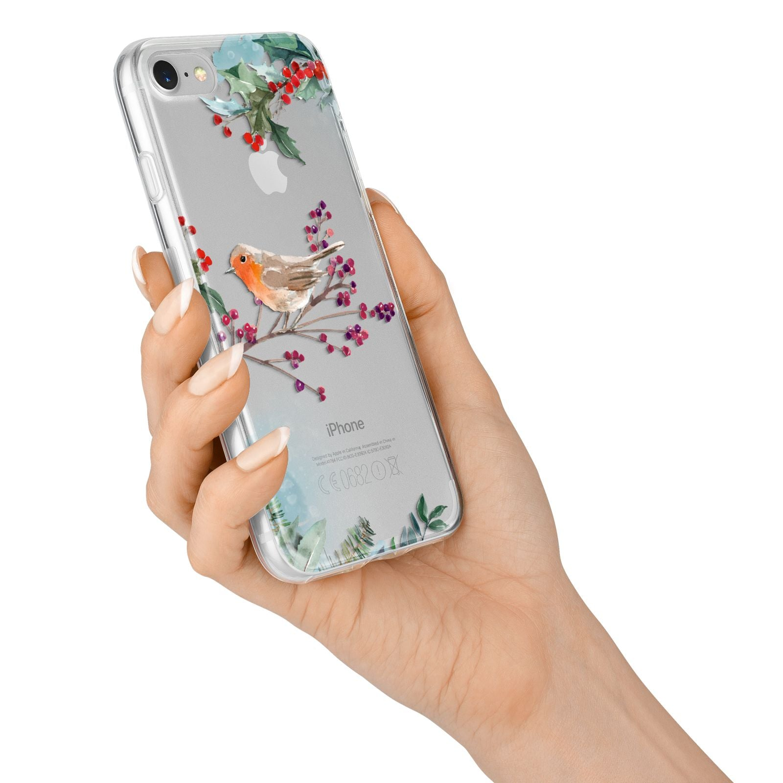 Christmas Robin Floral iPhone 7 Bumper Case on Silver iPhone Alternative Image