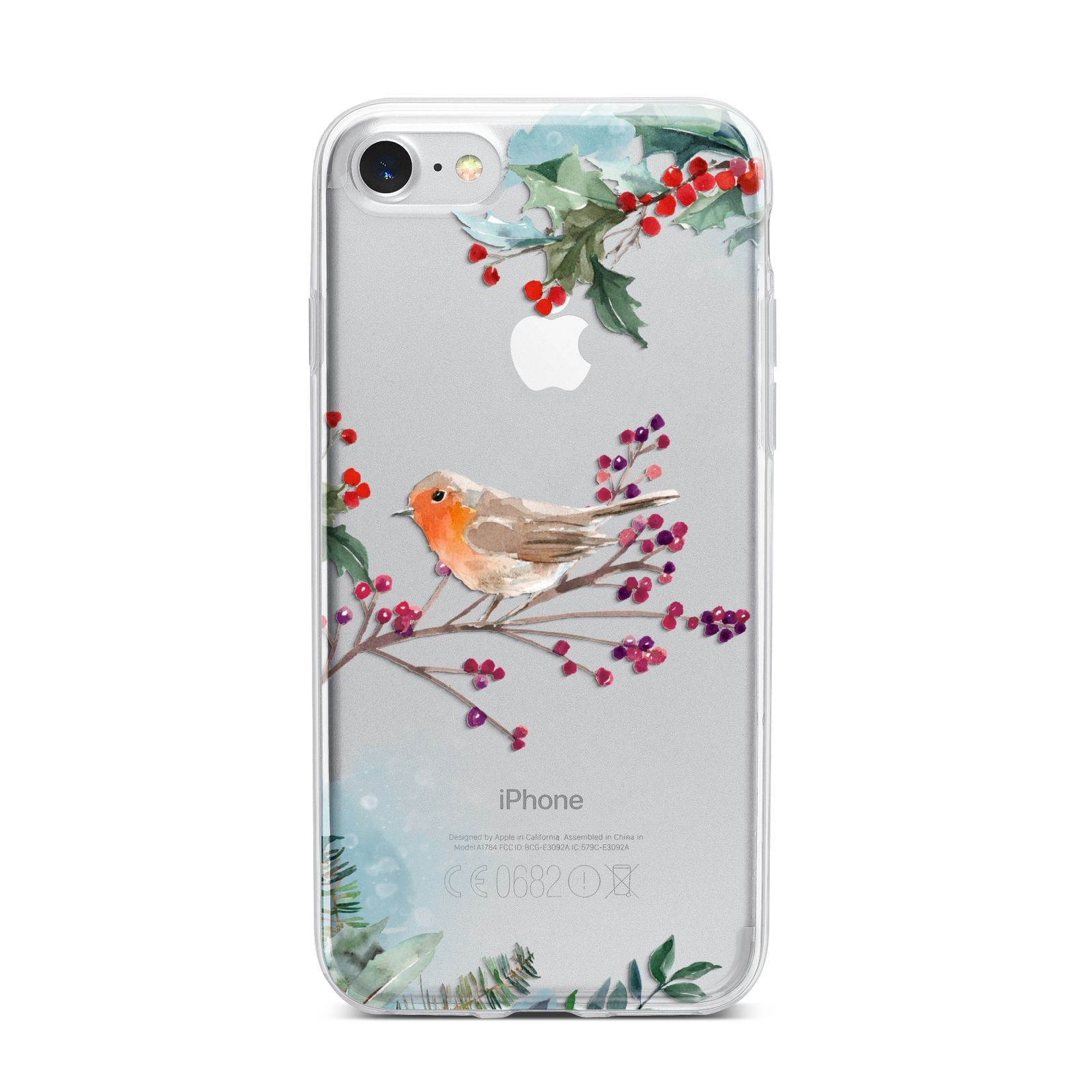 Christmas Robin Floral iPhone 7 Bumper Case on Silver iPhone