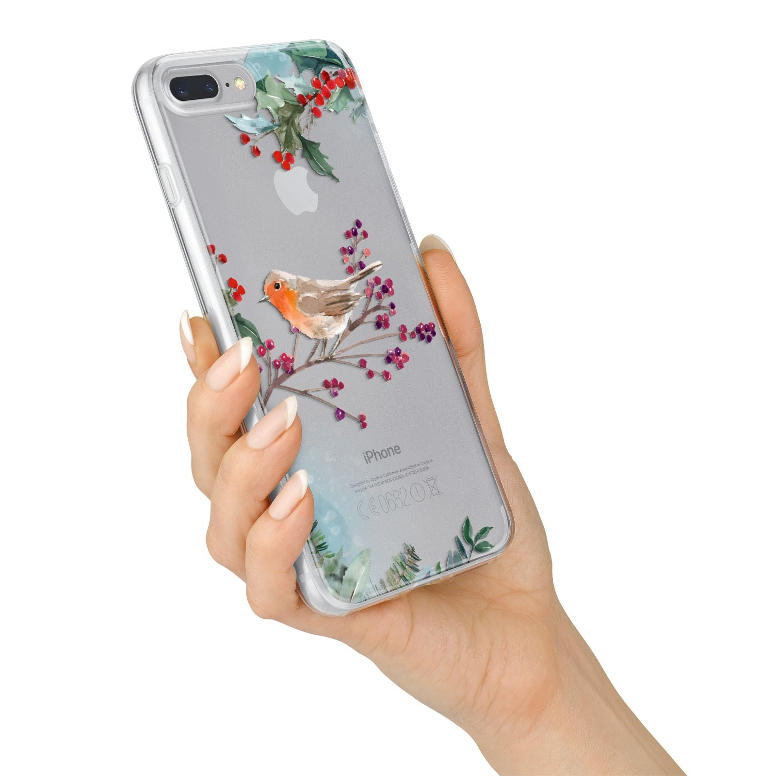 Christmas Robin Floral iPhone 7 Plus Bumper Case on Silver iPhone Alternative Image