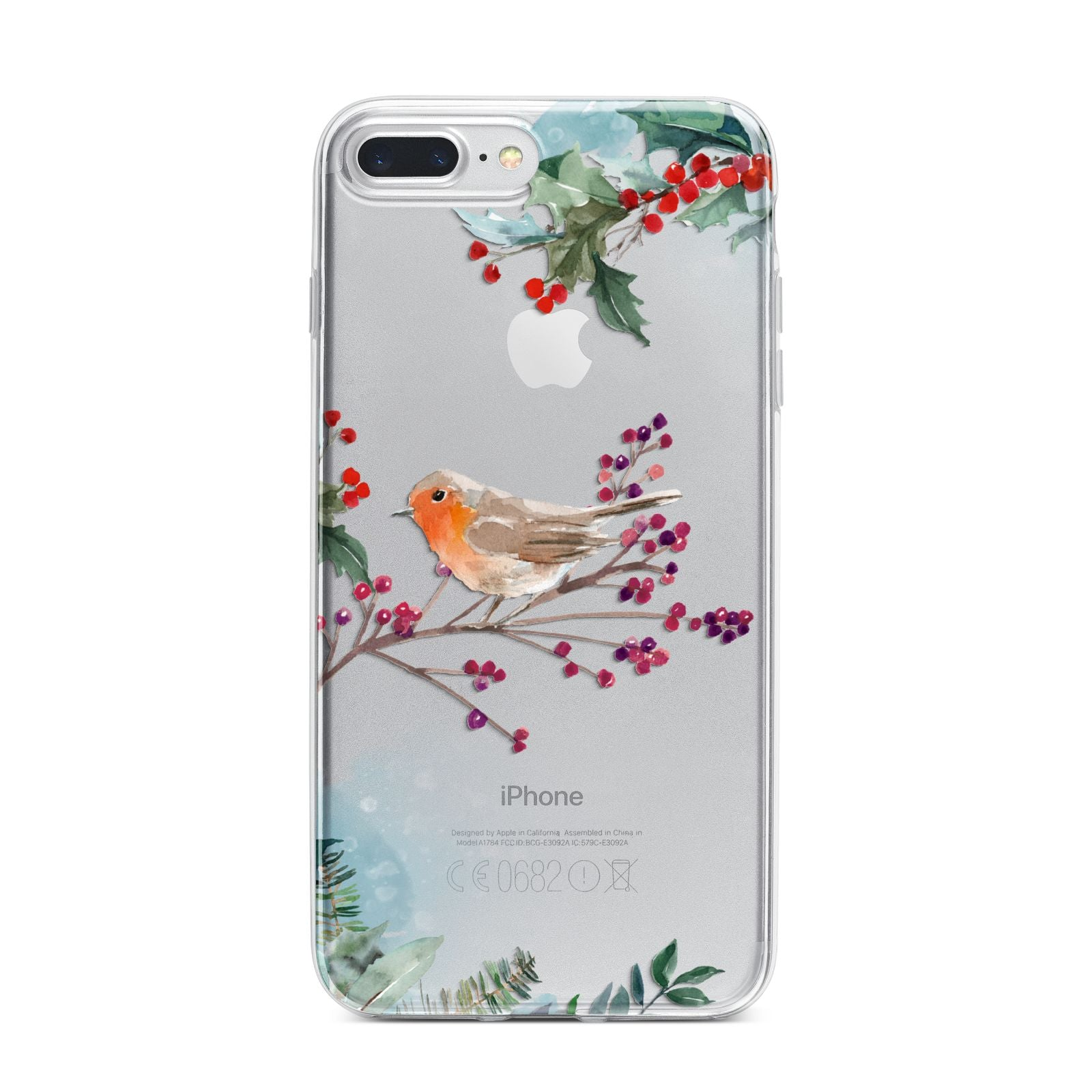 Christmas Robin Floral iPhone 7 Plus Bumper Case on Silver iPhone