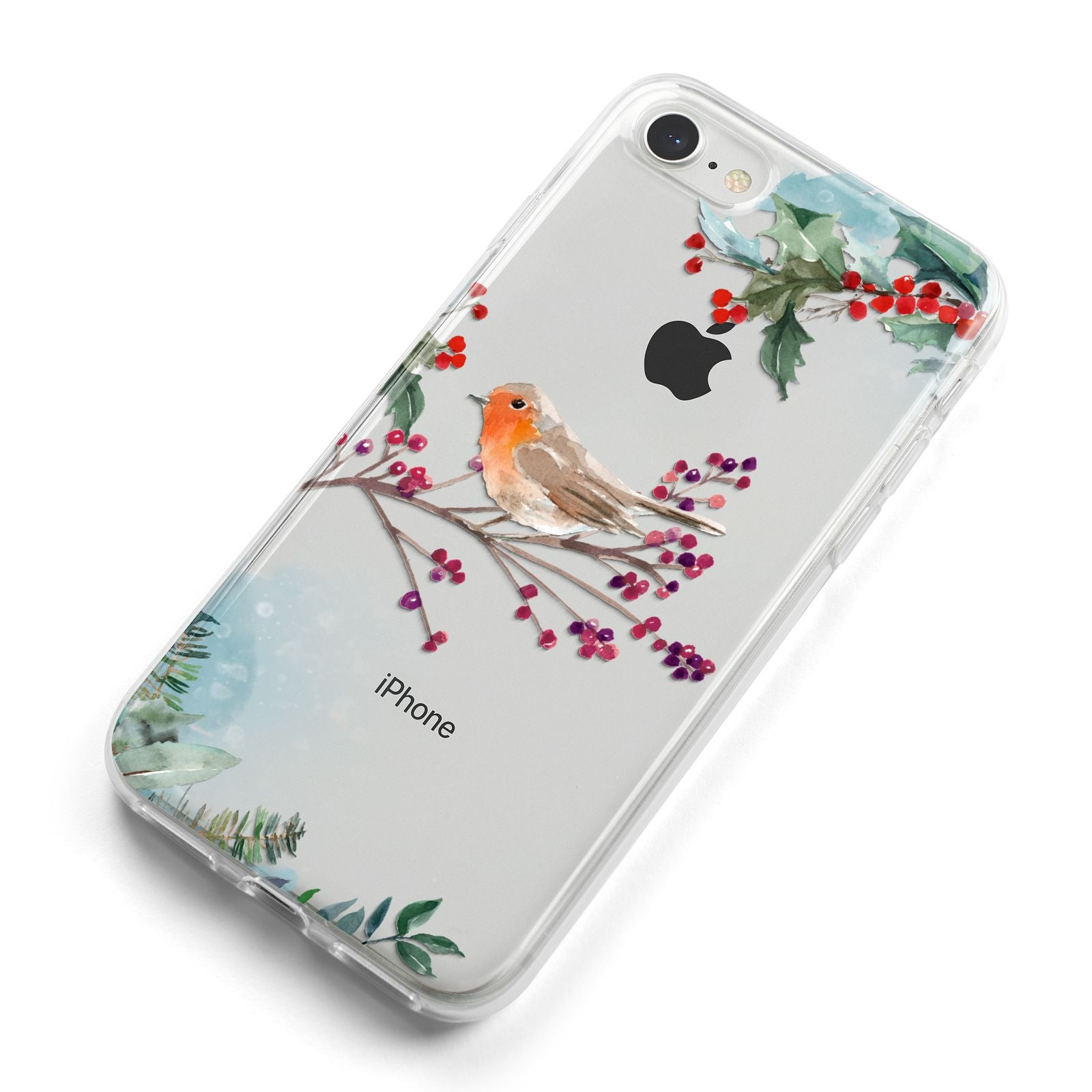 Christmas Robin Floral iPhone 8 Bumper Case on Silver iPhone Alternative Image