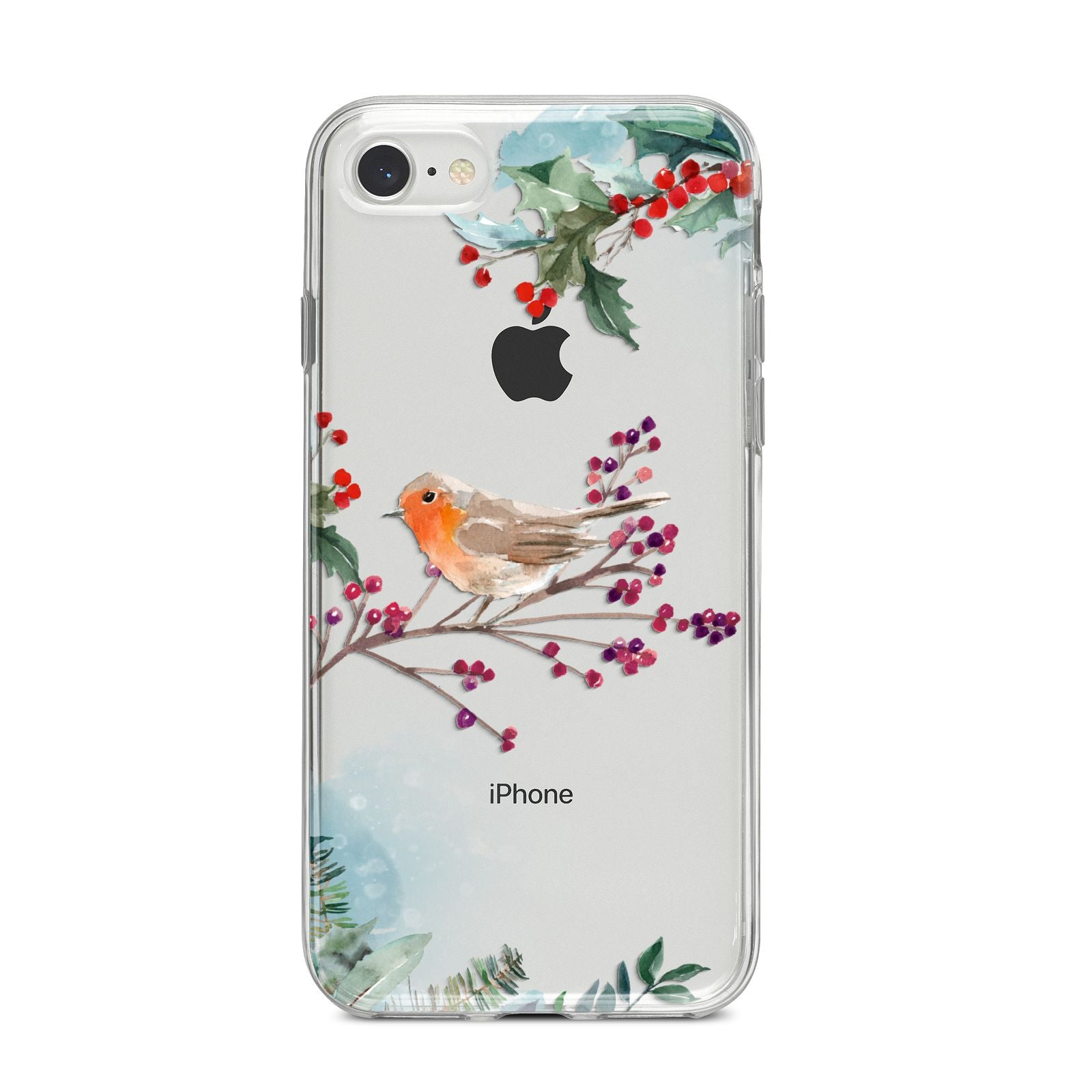 Christmas Robin Floral iPhone 8 Bumper Case on Silver iPhone
