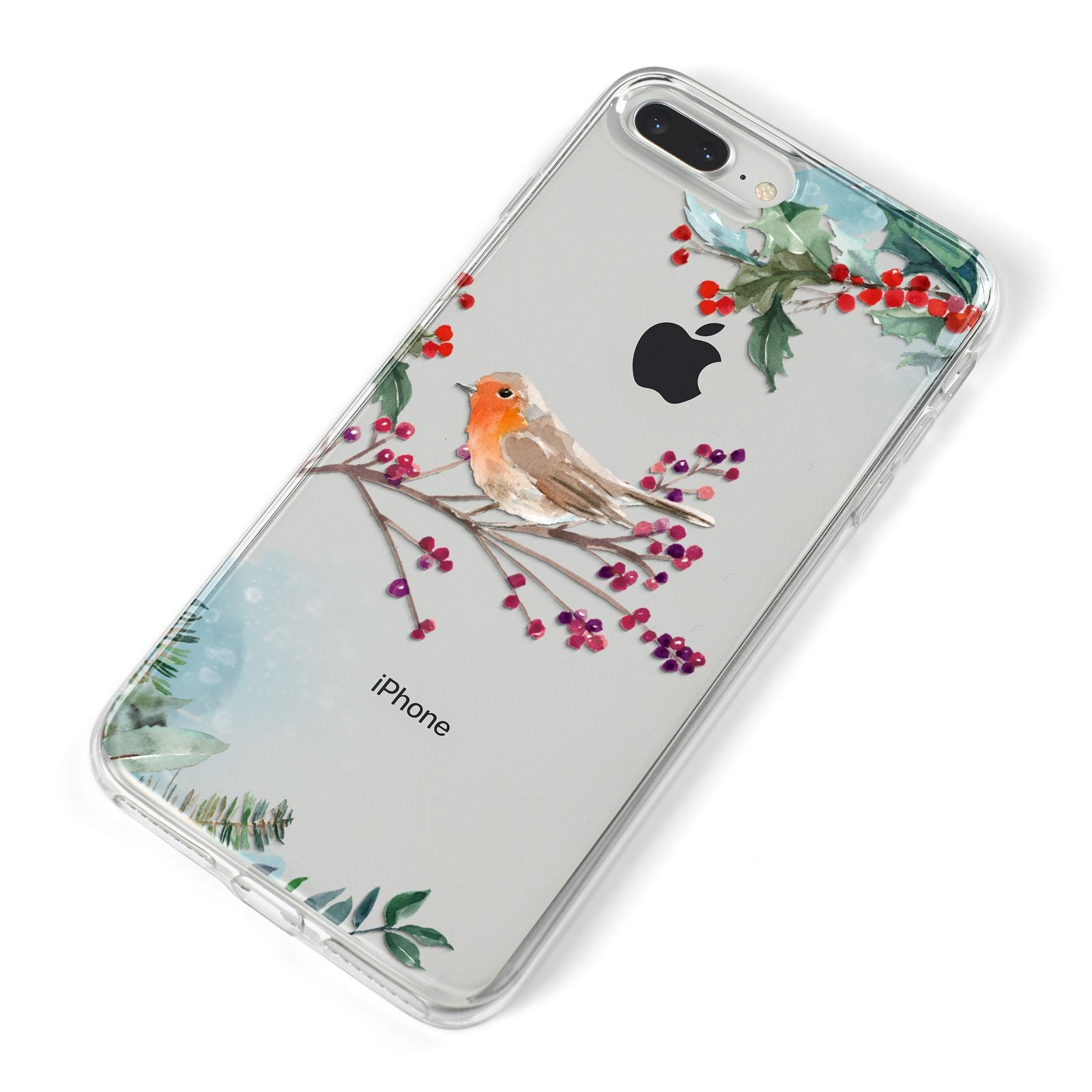 Christmas Robin Floral iPhone 8 Plus Bumper Case on Silver iPhone Alternative Image