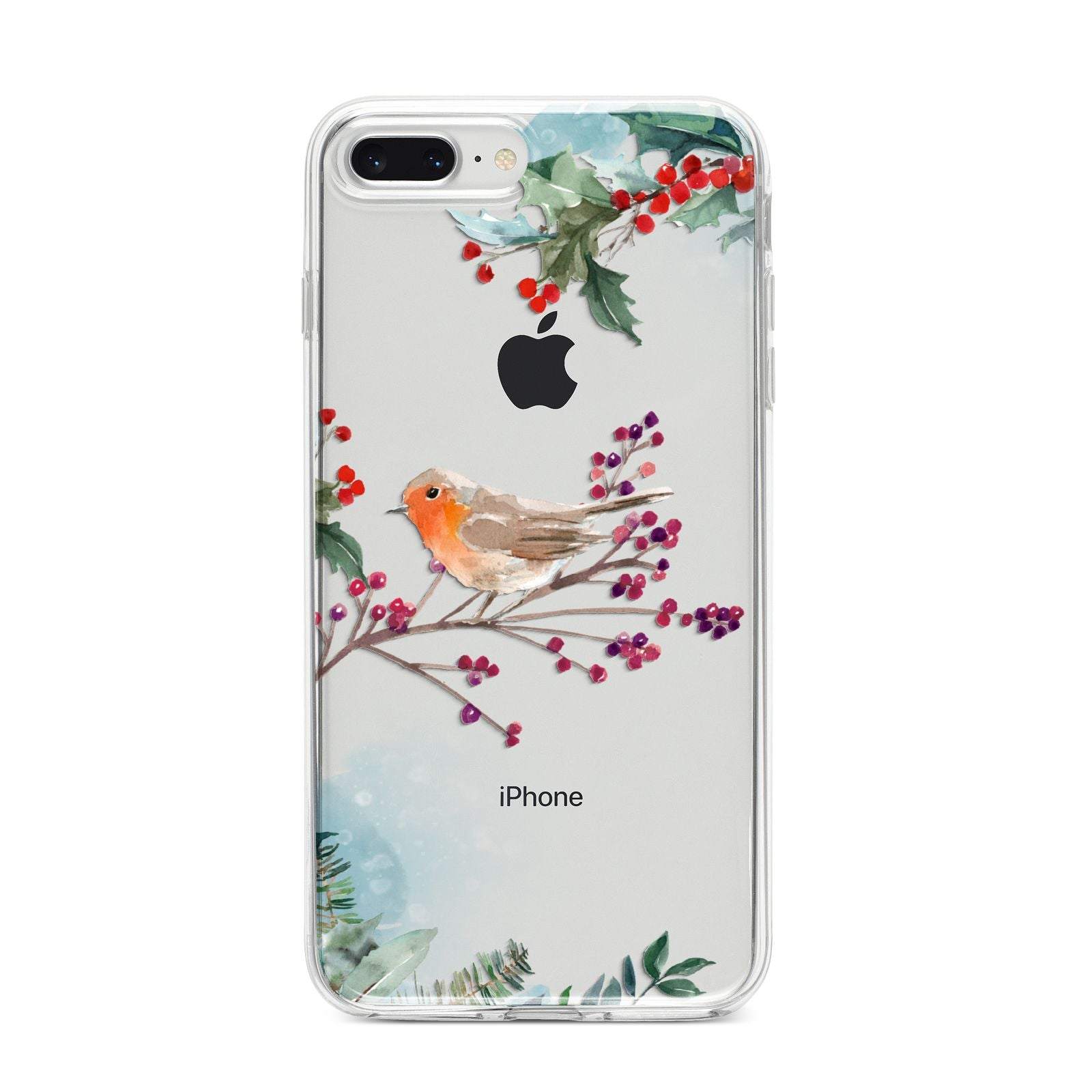 Christmas Robin Floral iPhone 8 Plus Bumper Case on Silver iPhone