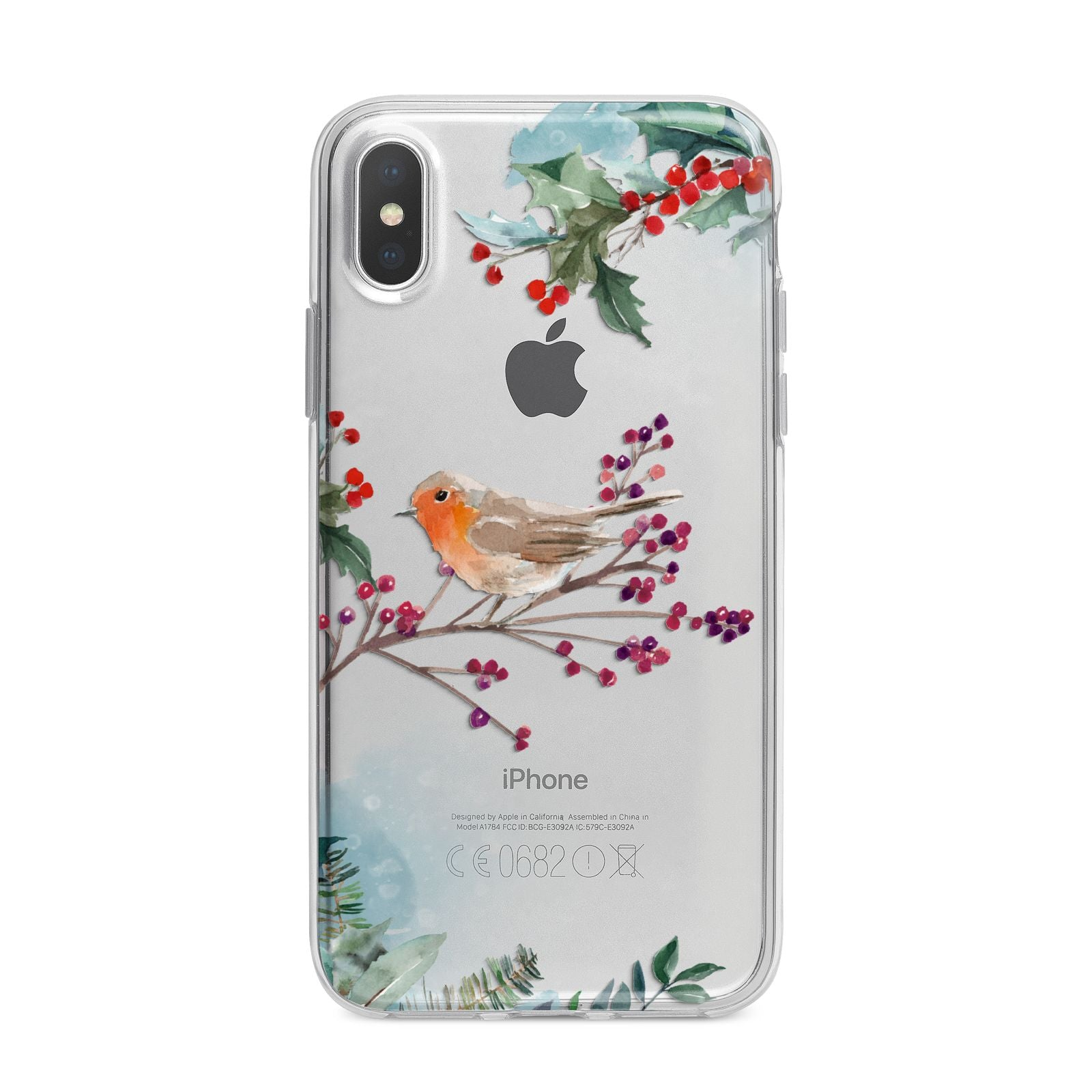 Christmas Robin Floral iPhone X Bumper Case on Silver iPhone Alternative Image 1