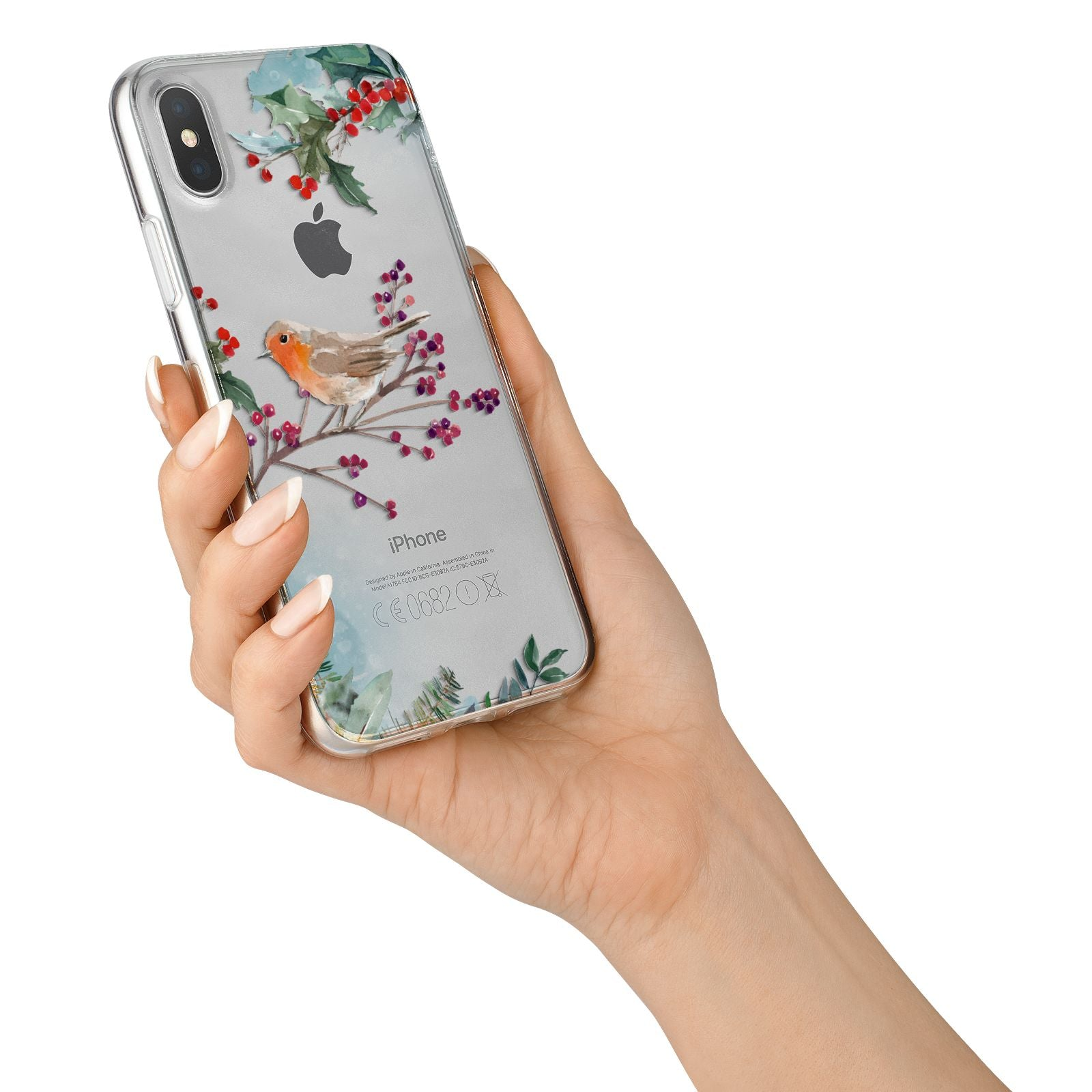 Christmas Robin Floral iPhone X Bumper Case on Silver iPhone Alternative Image 2