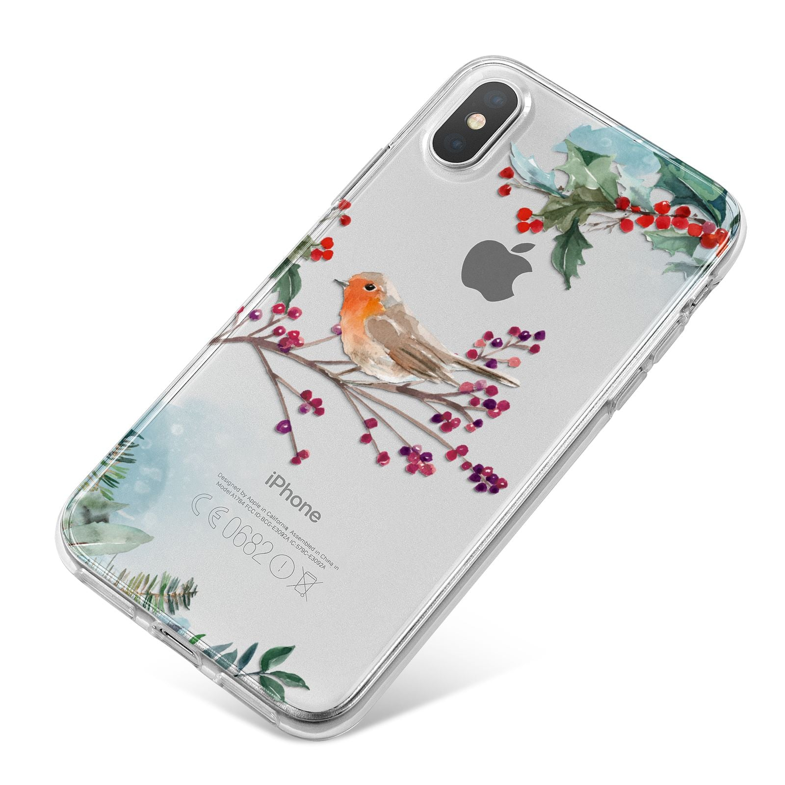 Christmas Robin Floral iPhone X Bumper Case on Silver iPhone