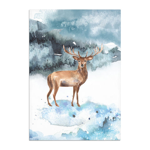 Christmas Winter Stag Tea Towel