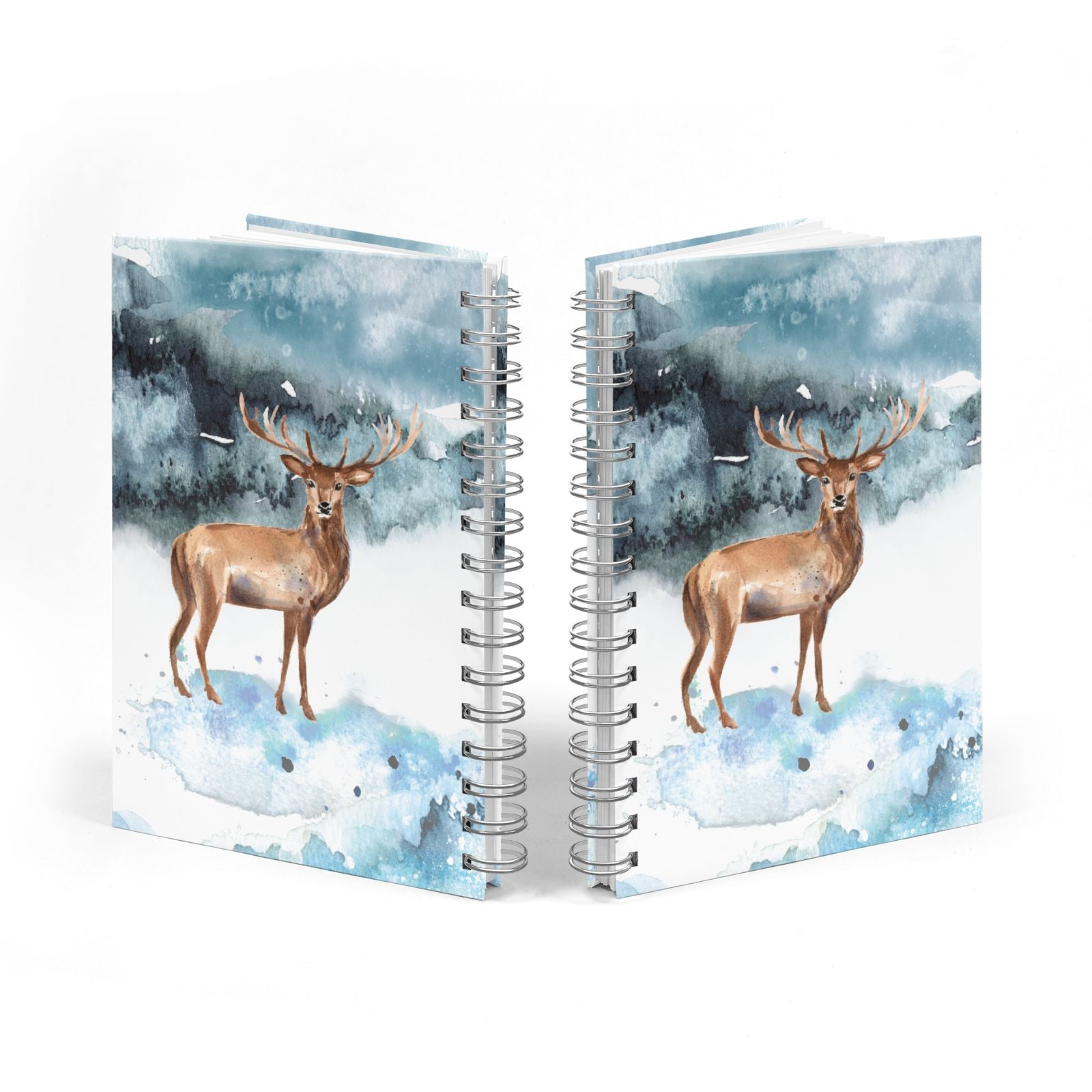 Christmas Winter Stag Notebook with Silver Coil Spine View