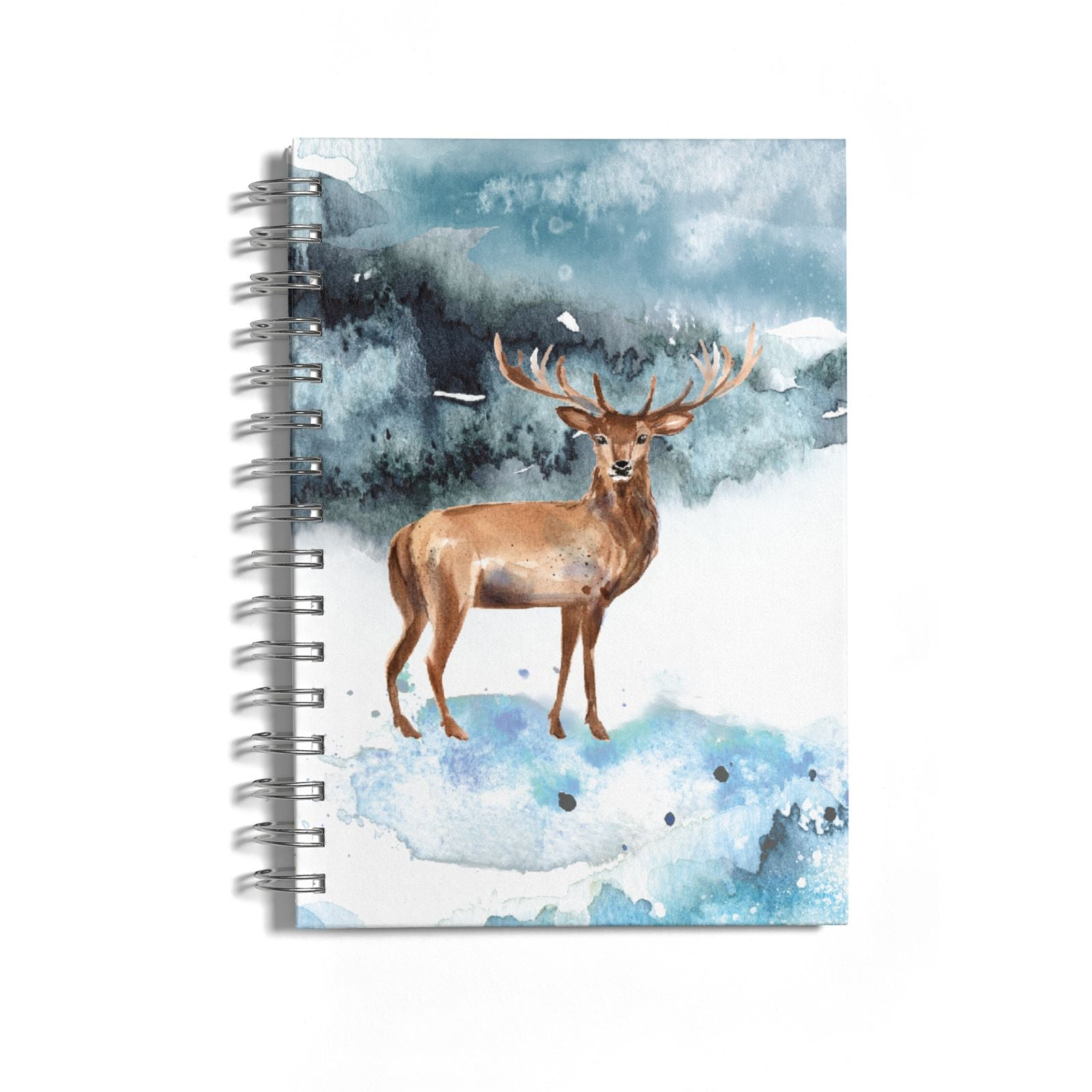 Christmas Winter Stag Notebook with Silver Coil