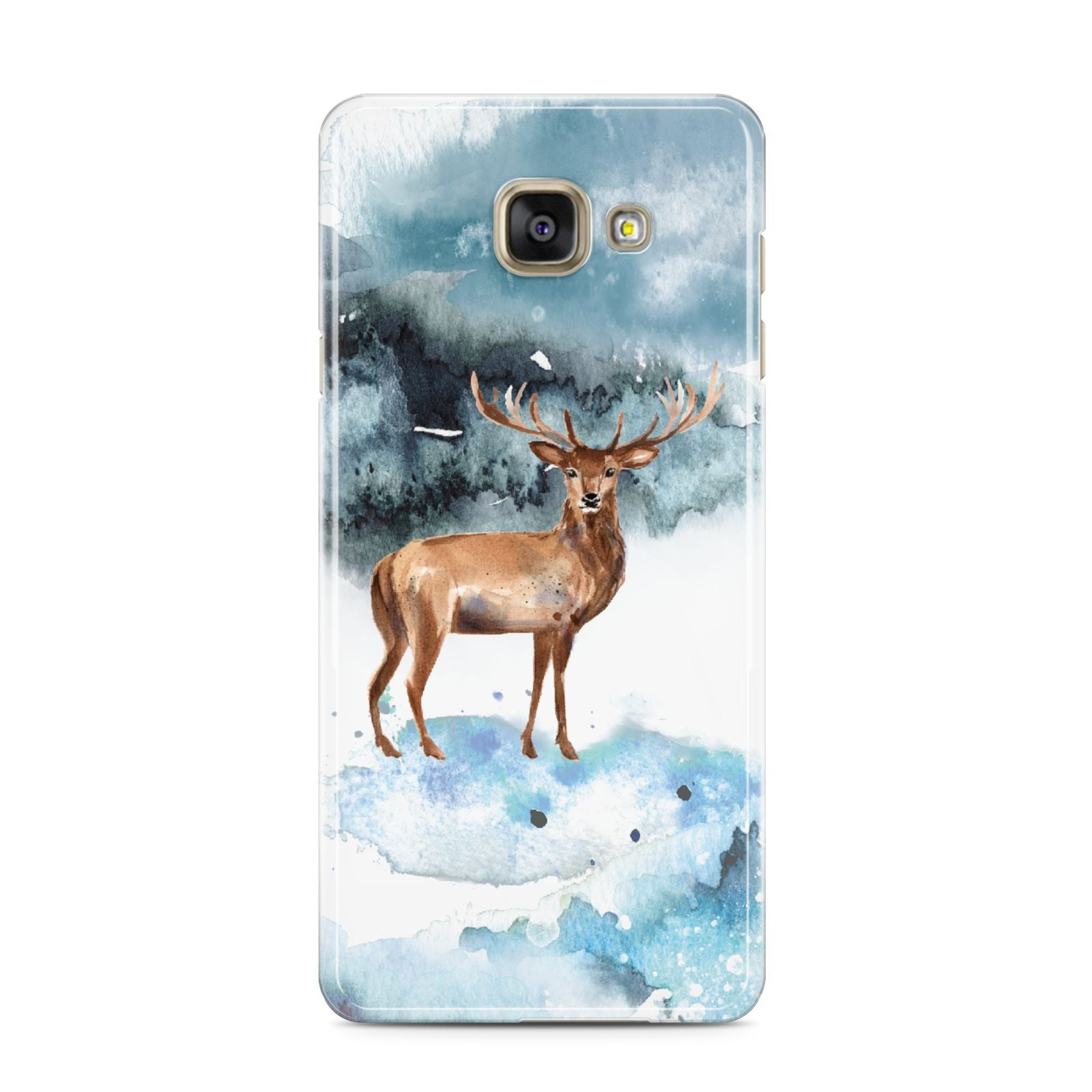 Christmas Winter Stag Samsung Galaxy A3 2016 Case on gold phone