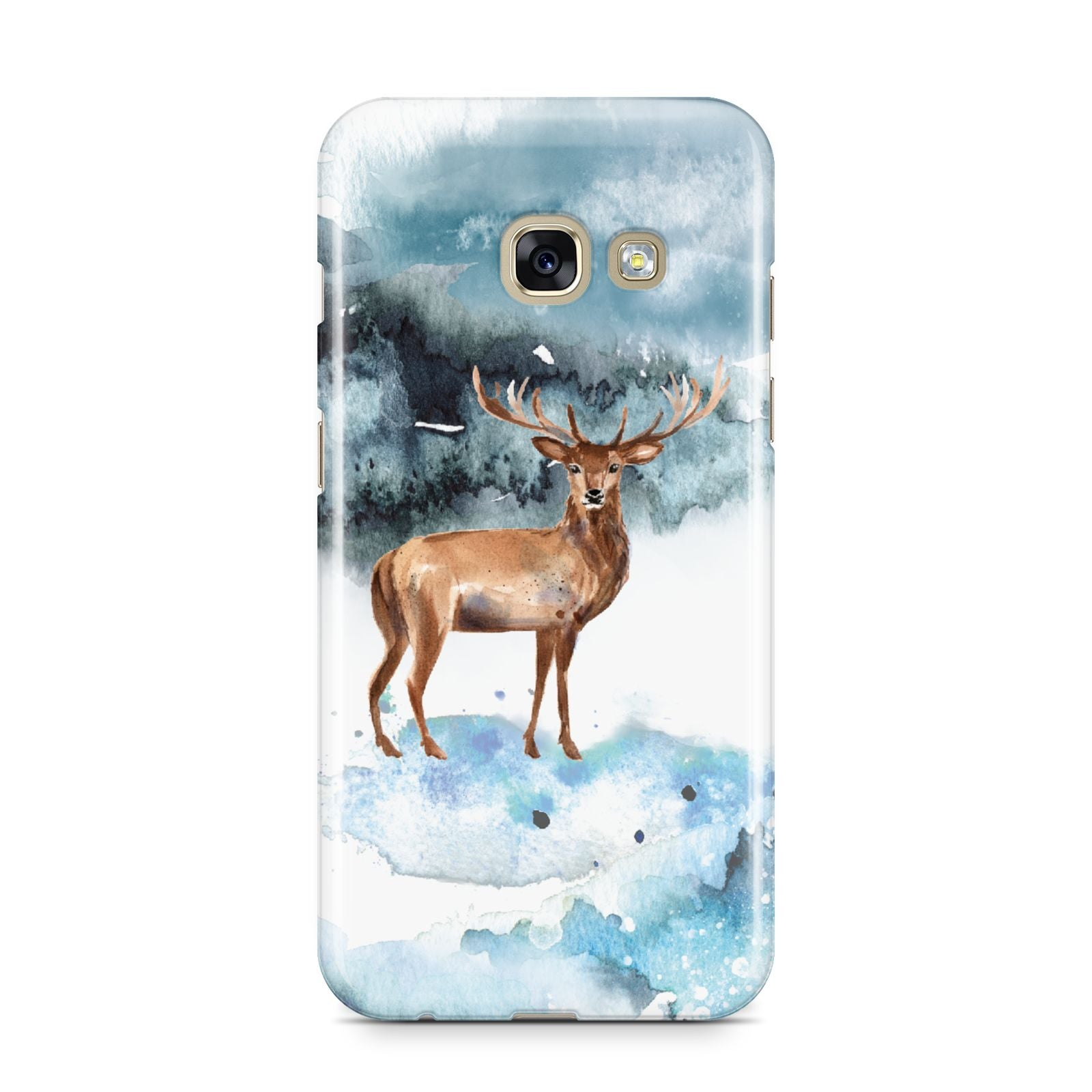 Christmas Winter Stag Samsung Galaxy A3 2017 Case on gold phone