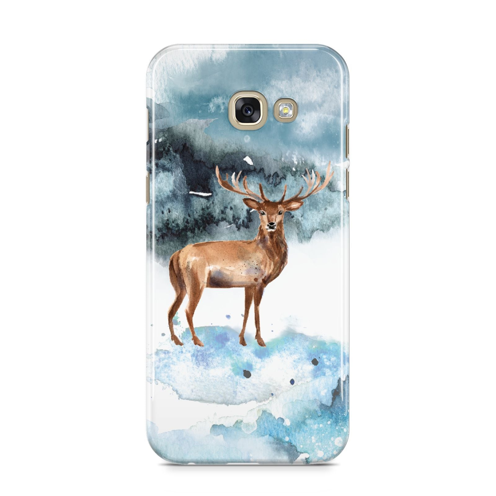 Christmas Winter Stag Samsung Galaxy A5 2017 Case on gold phone